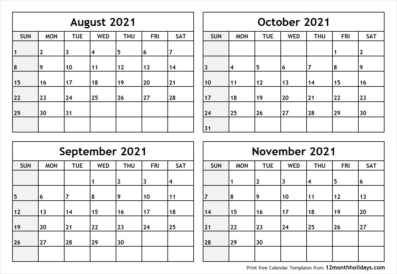 Get Calendar 2021 August September October