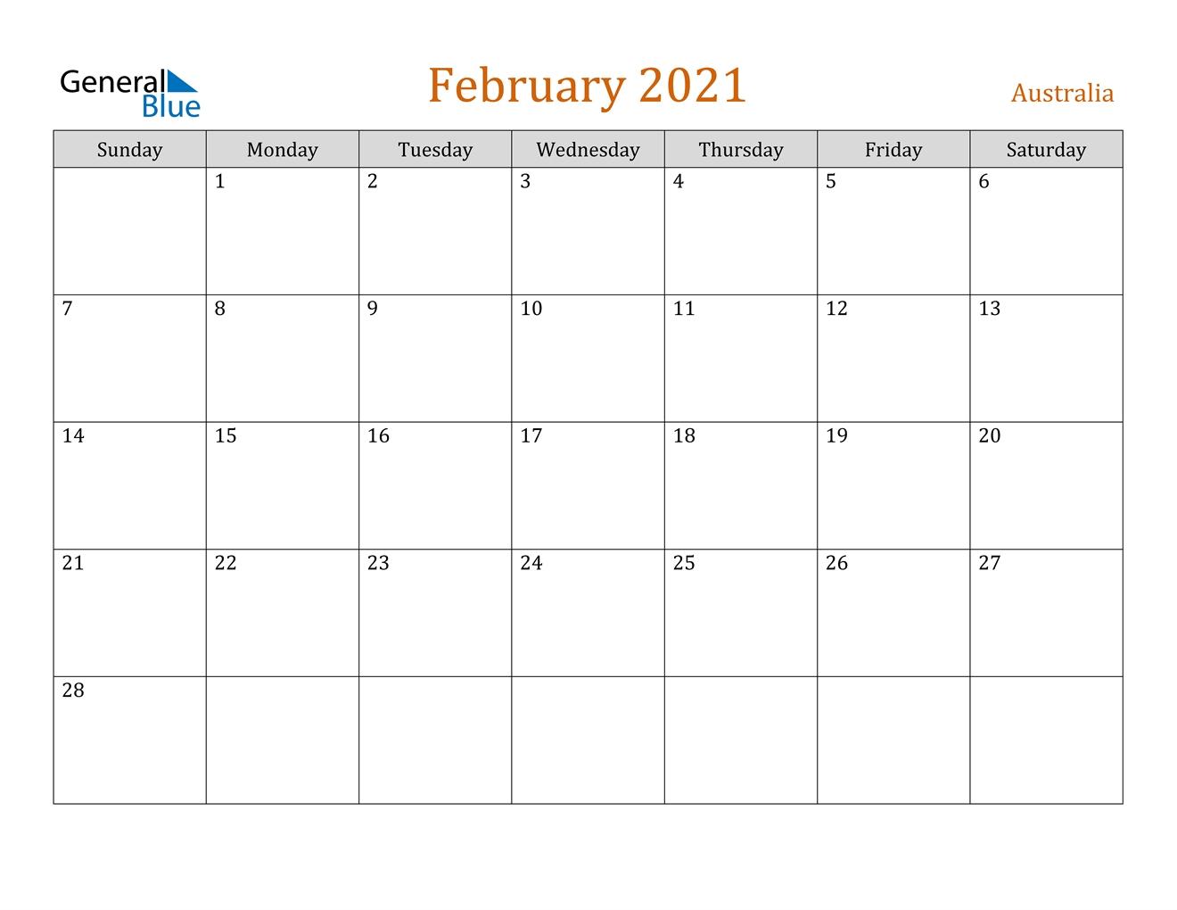 Get Calendar 2021 Australia