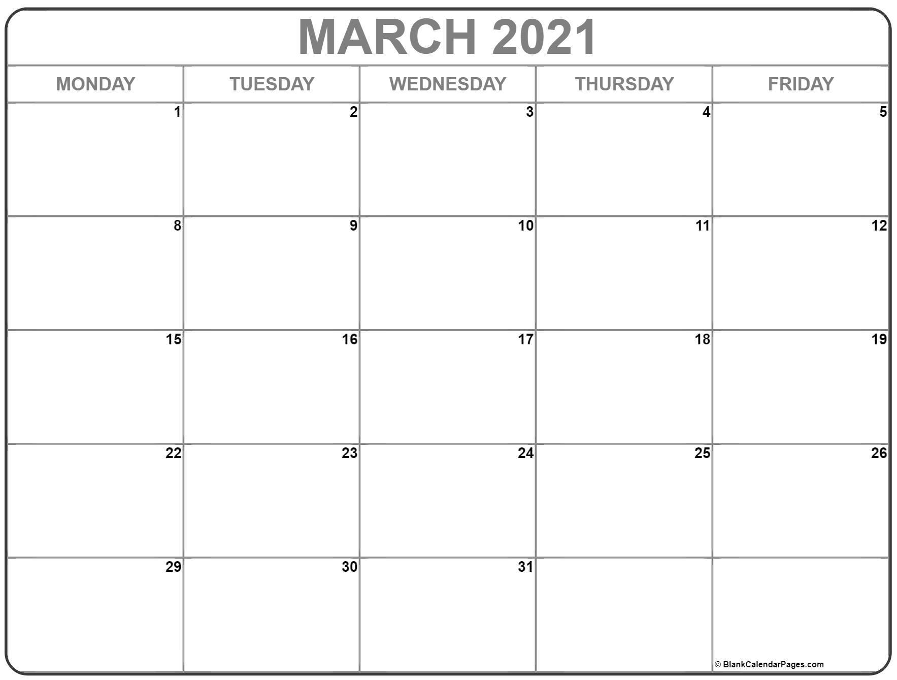 Get Calendar 2021 Monday Thru Sunday