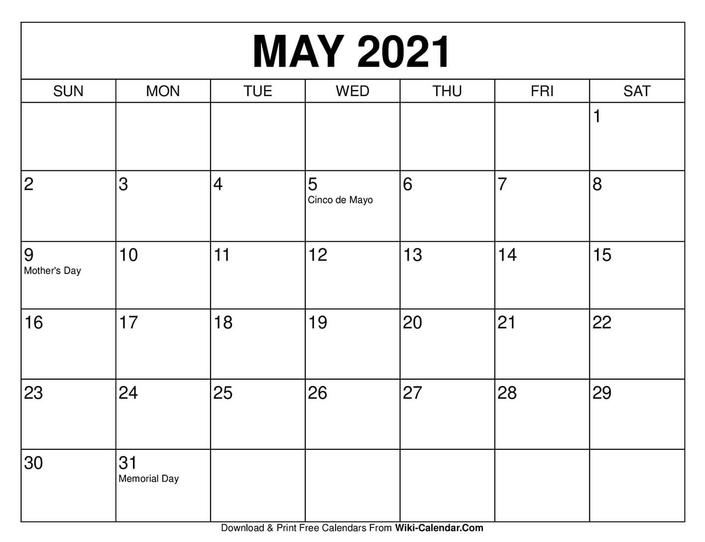 Get Calendar April May 2021