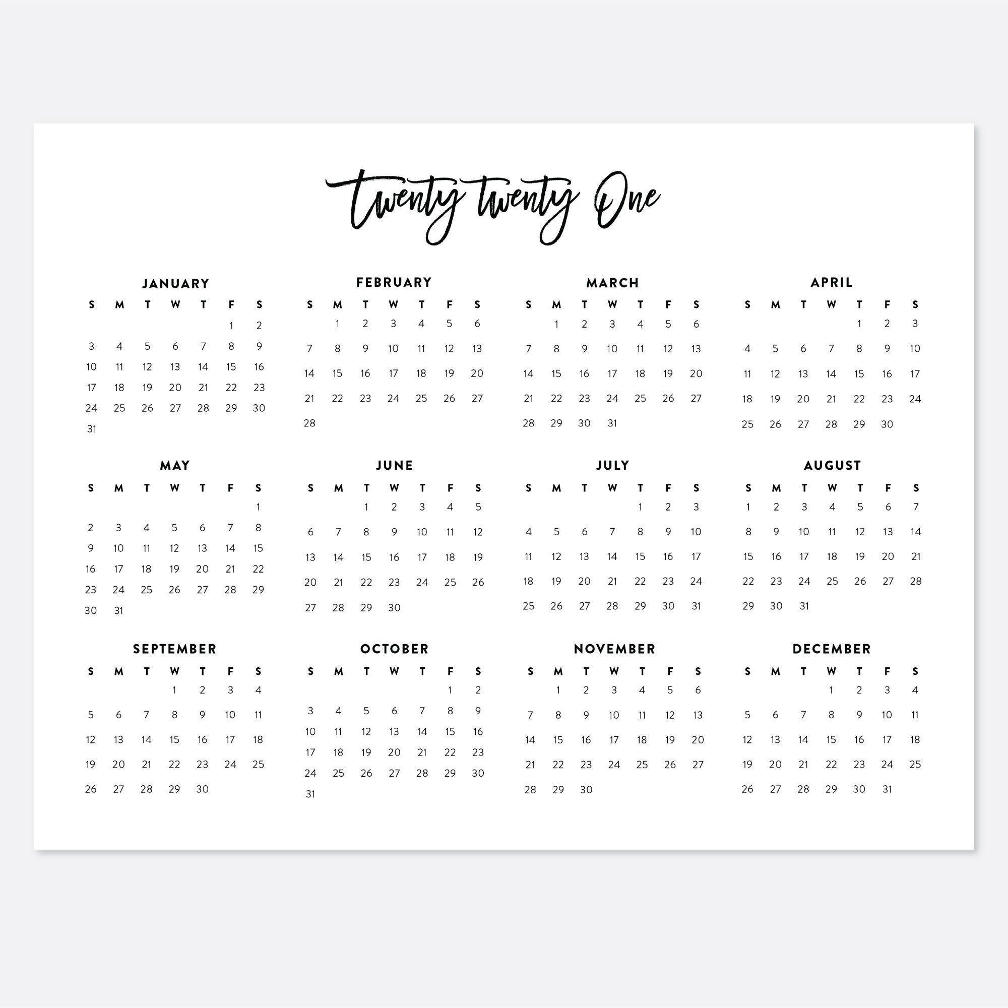 Get Calendar At A Glance 2021