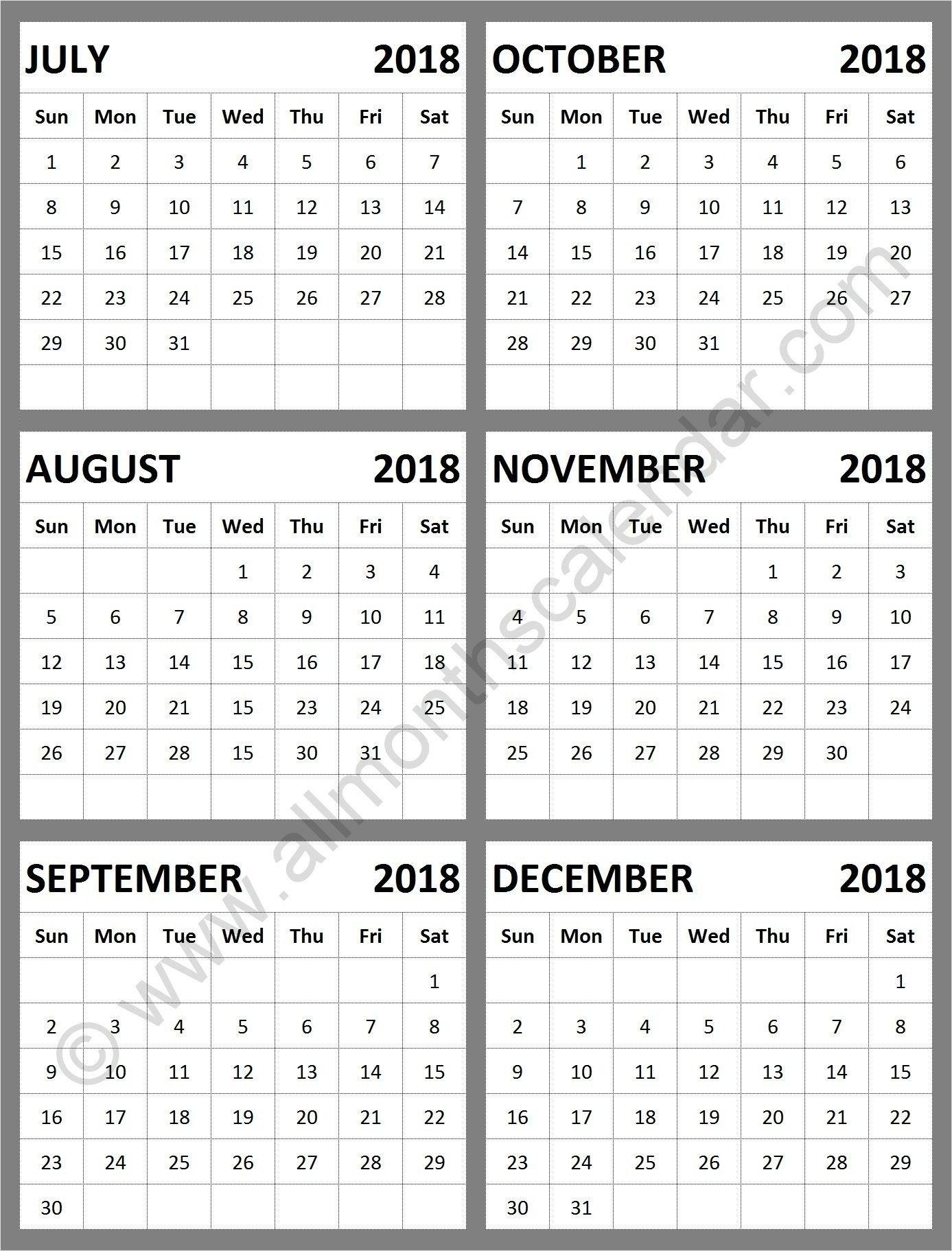 Get Calendar August Through December