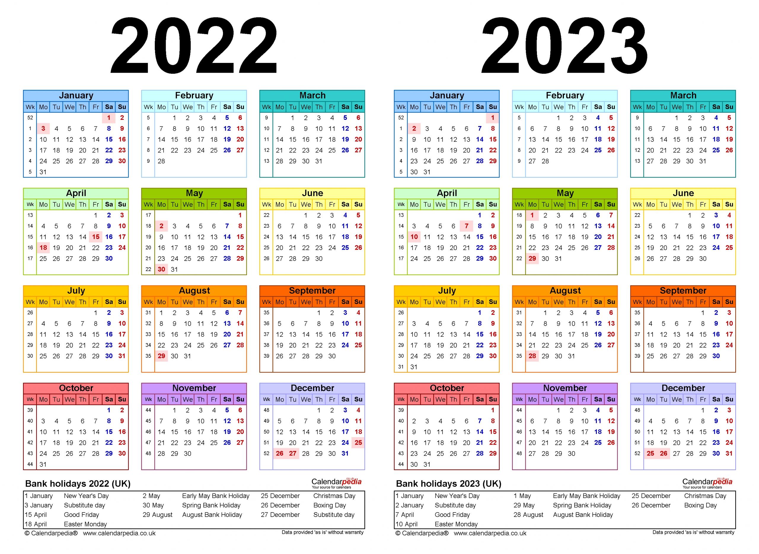 Get Calendar For 2022 & 2023