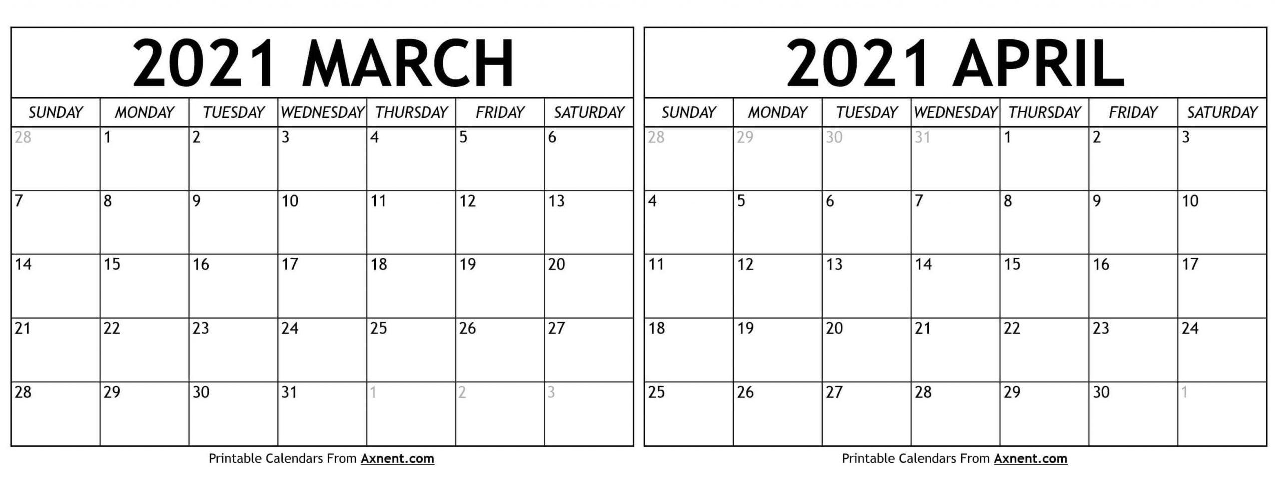 Get Calendar March April 2021