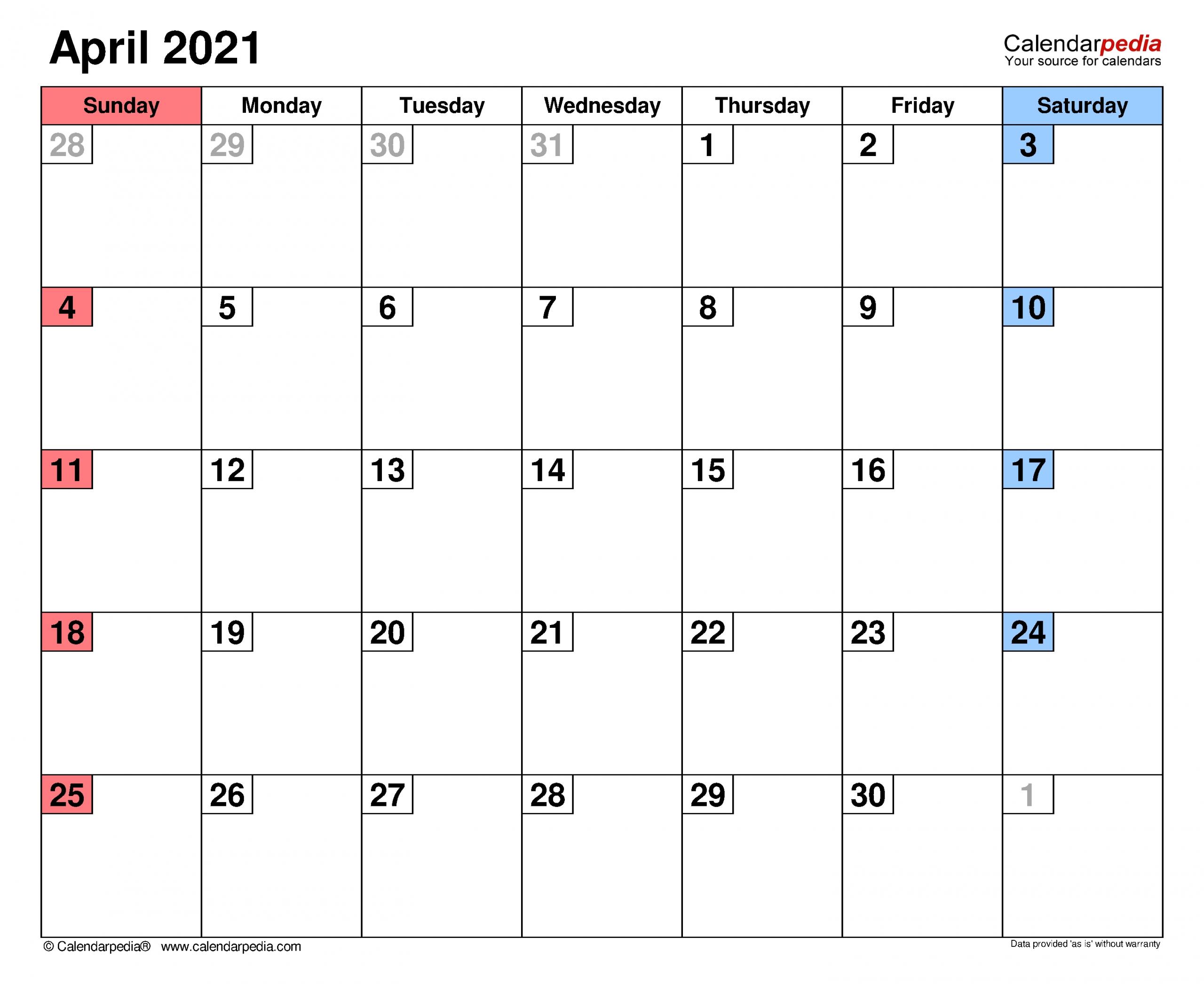 Get Calendar Of April 2021 School