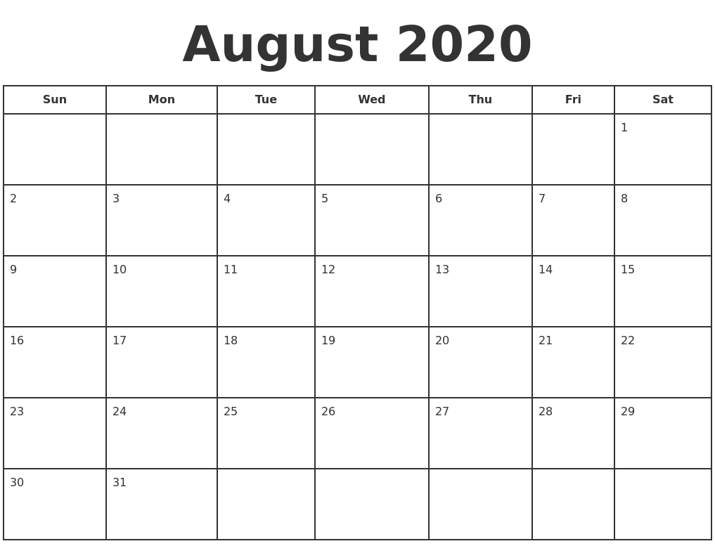 Get Calendar To Print August To Print