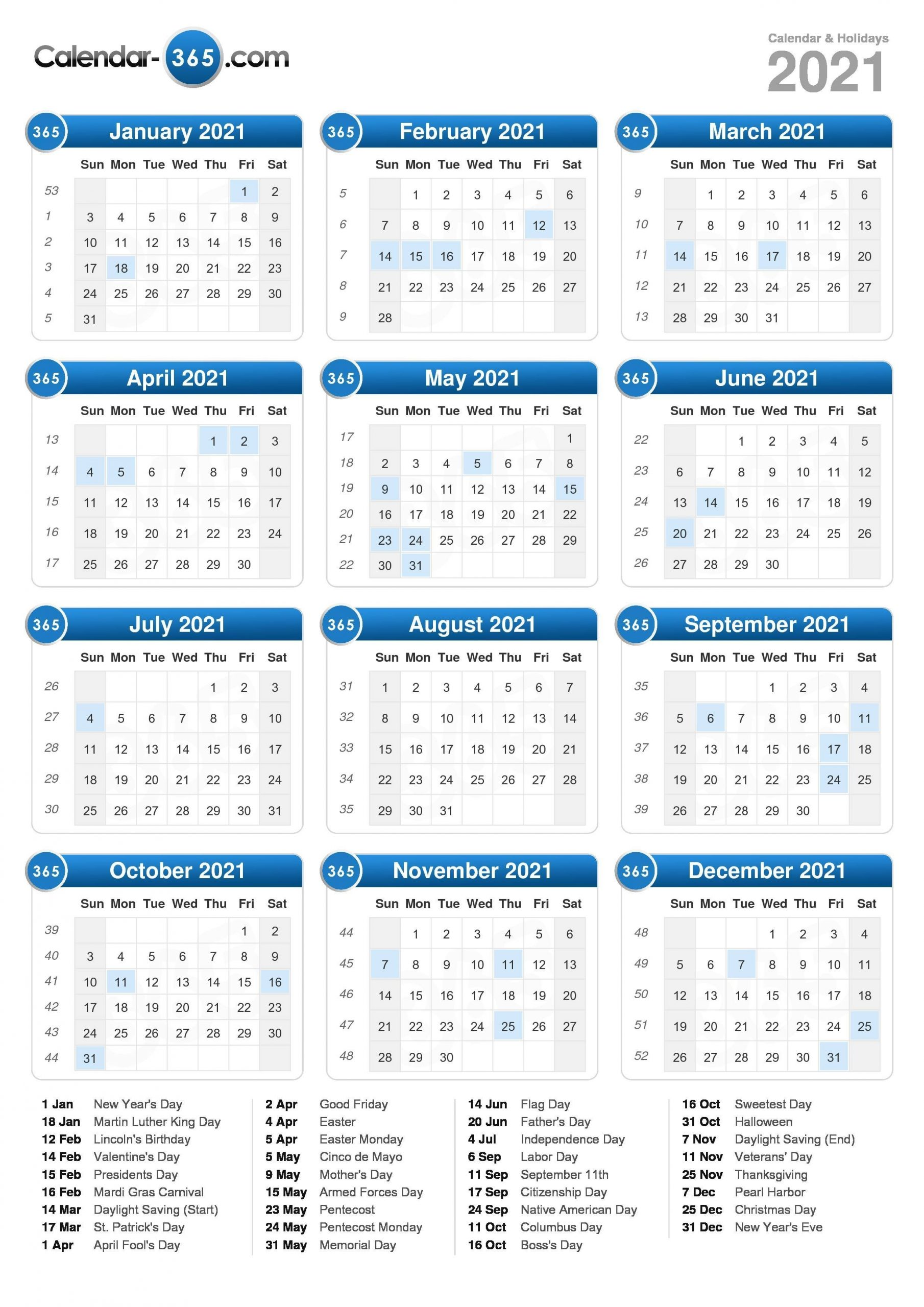Get Calendar With Days Numbered For 2021