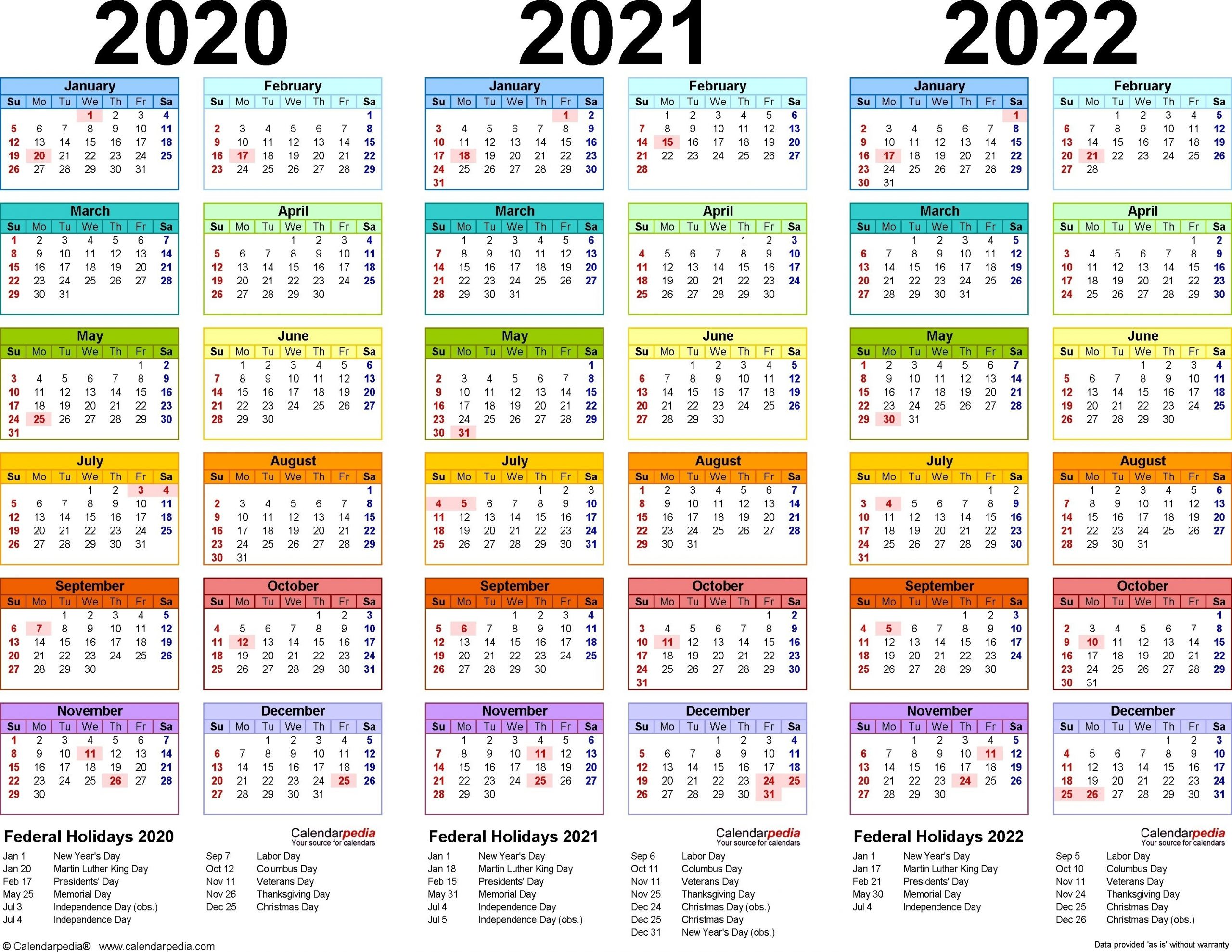 Get Calendars For The Years 2021 2021 & 2022