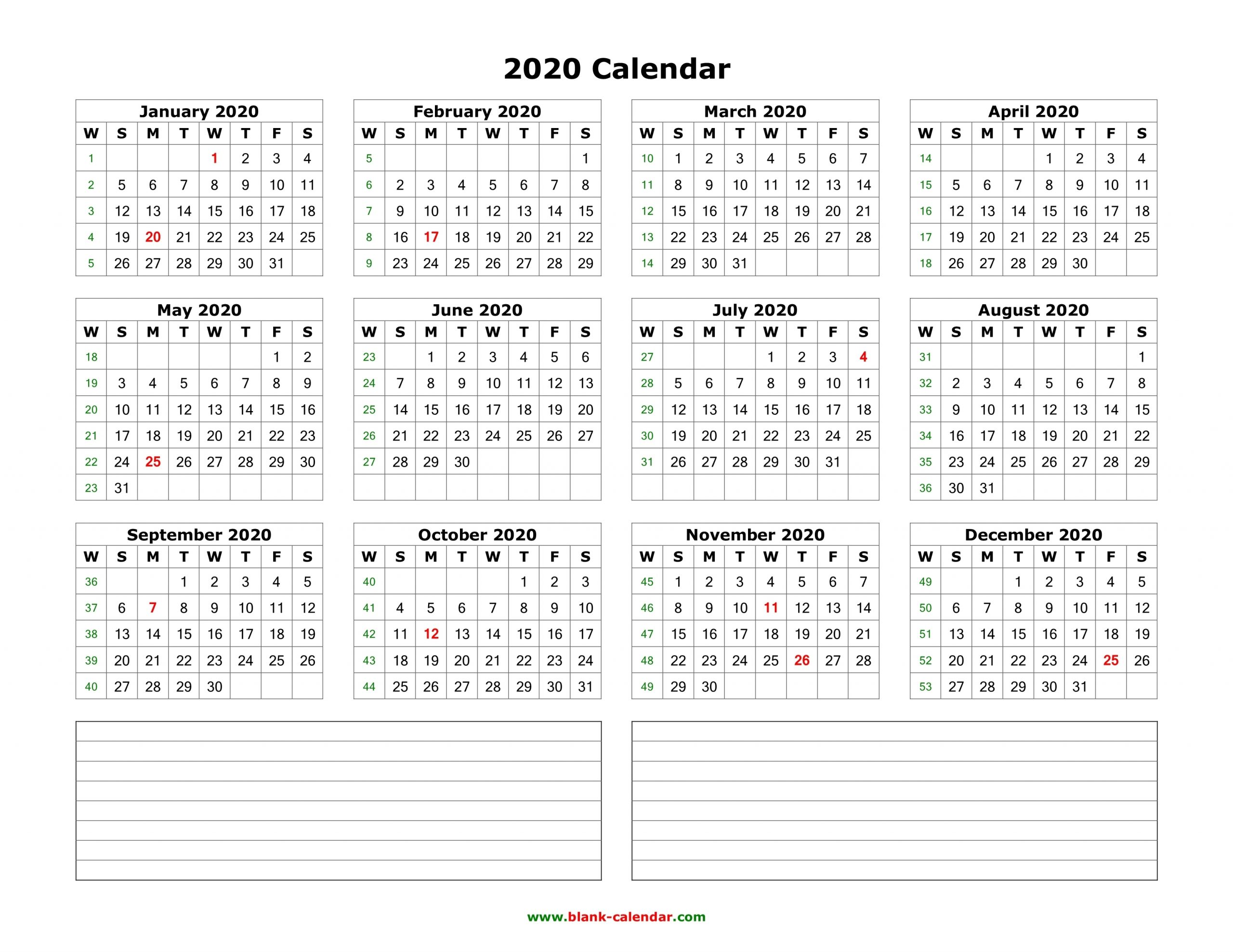 Get Calendars To Print Free With Space To Write