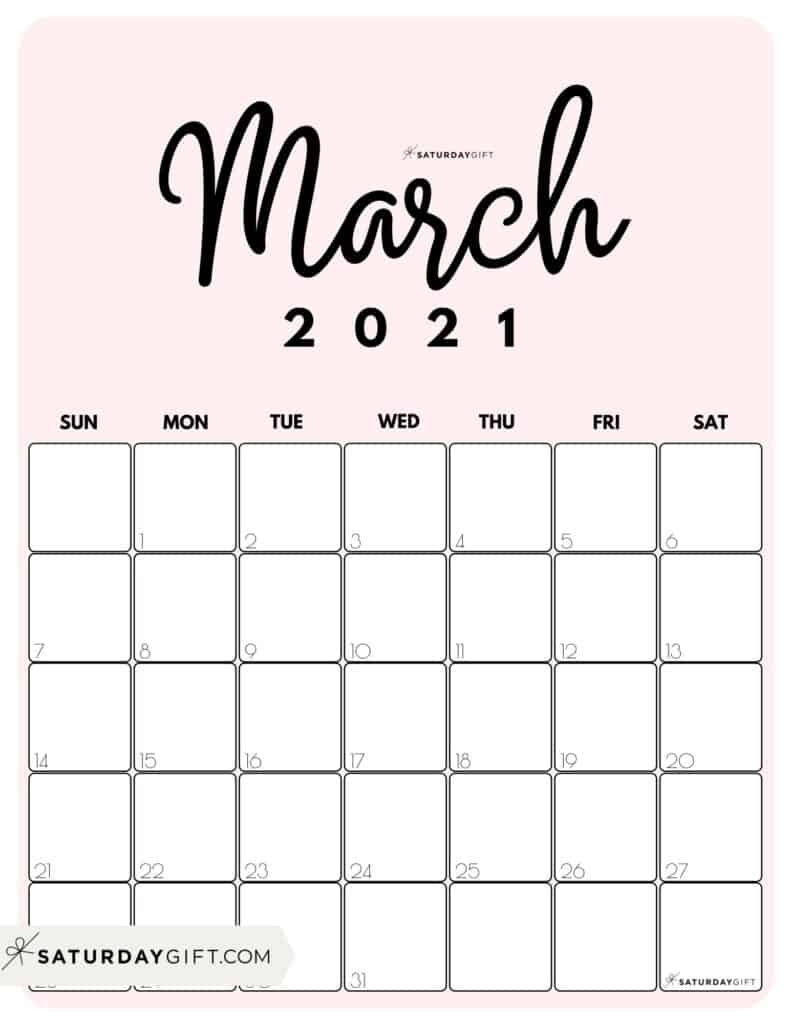 Get Cute Printable Calendar 2021 Monthly Free