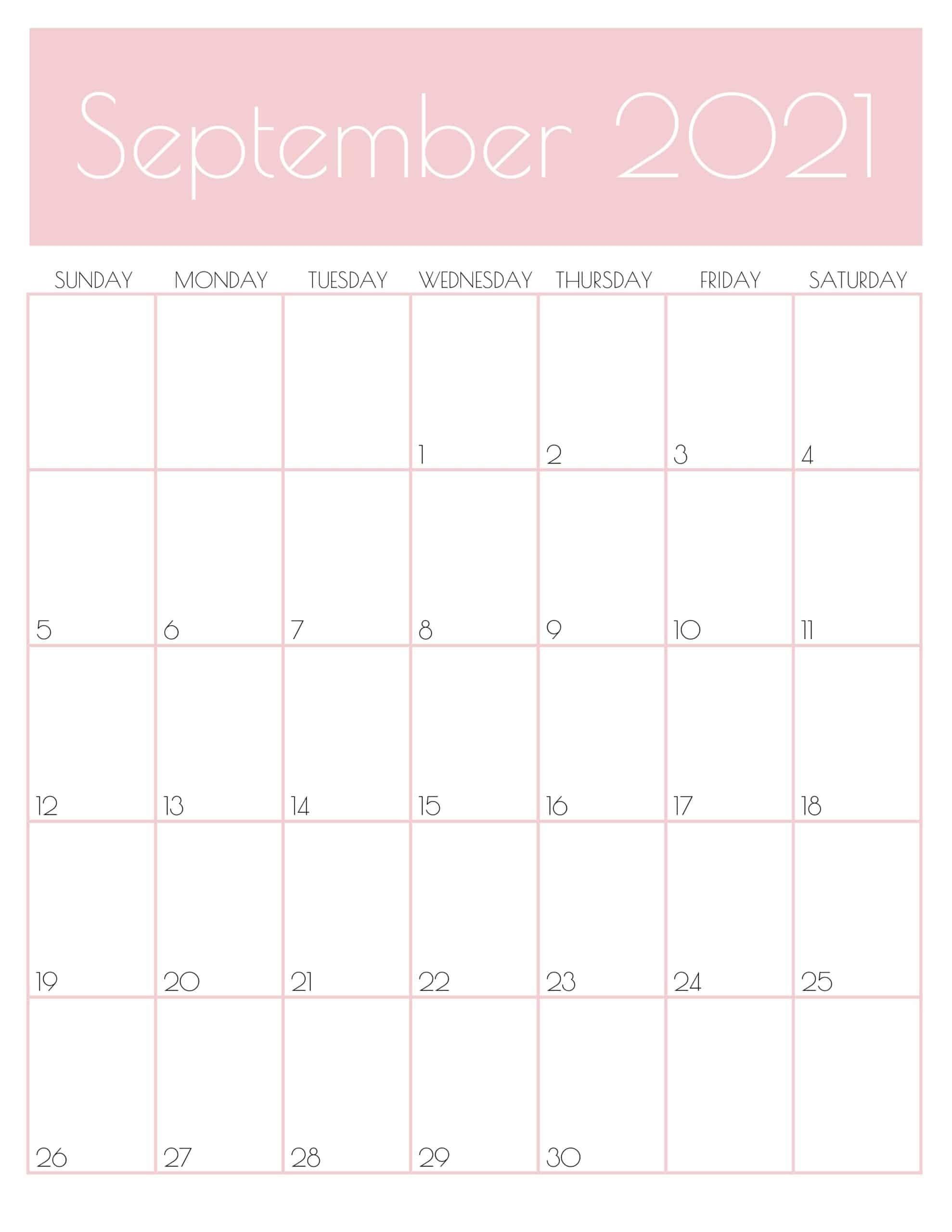 Get Cute September 2021 Calendar