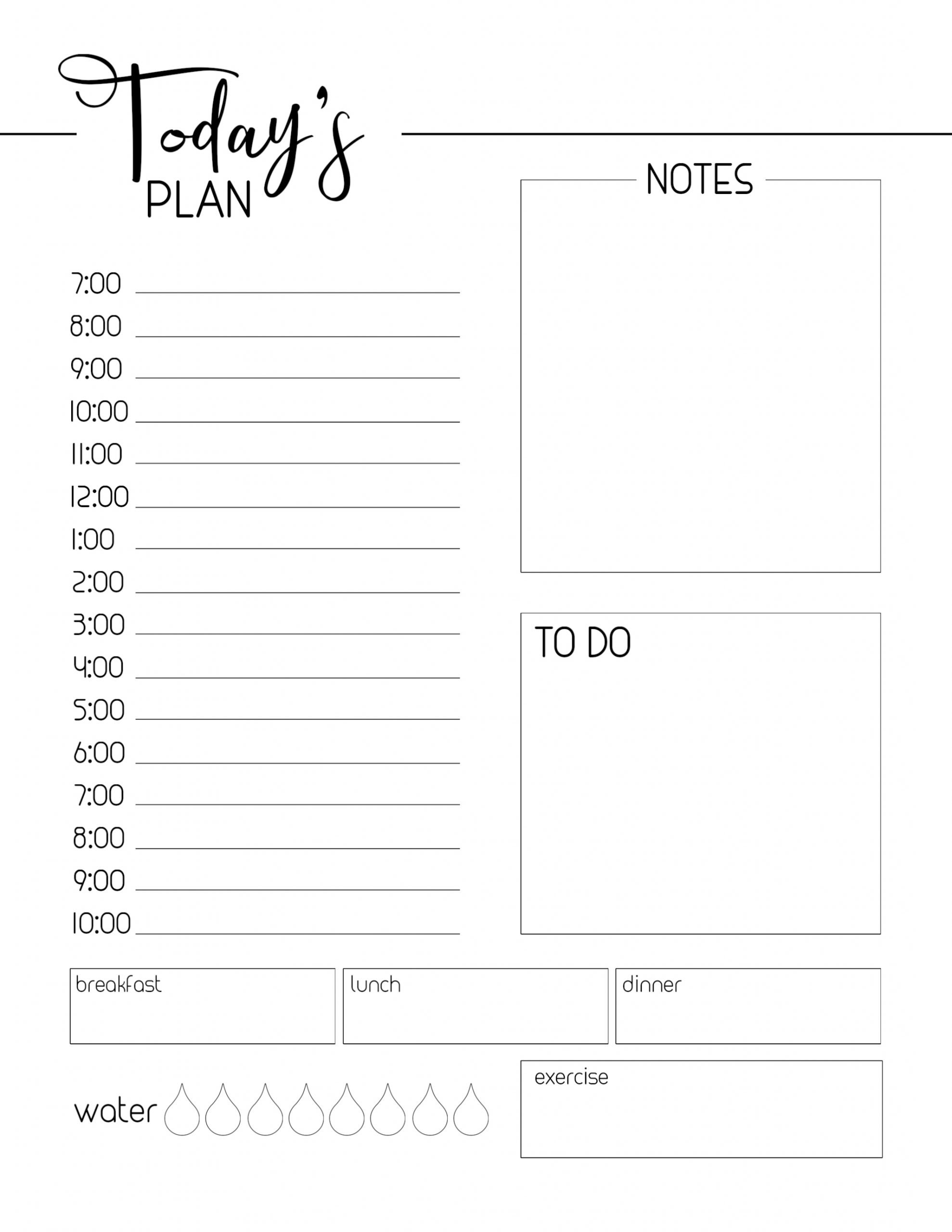 Get Daily Organizer Free Printable Template