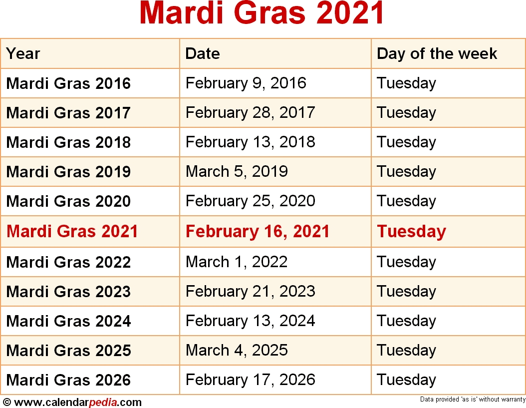 Get Dates For Mardi Gras 2021