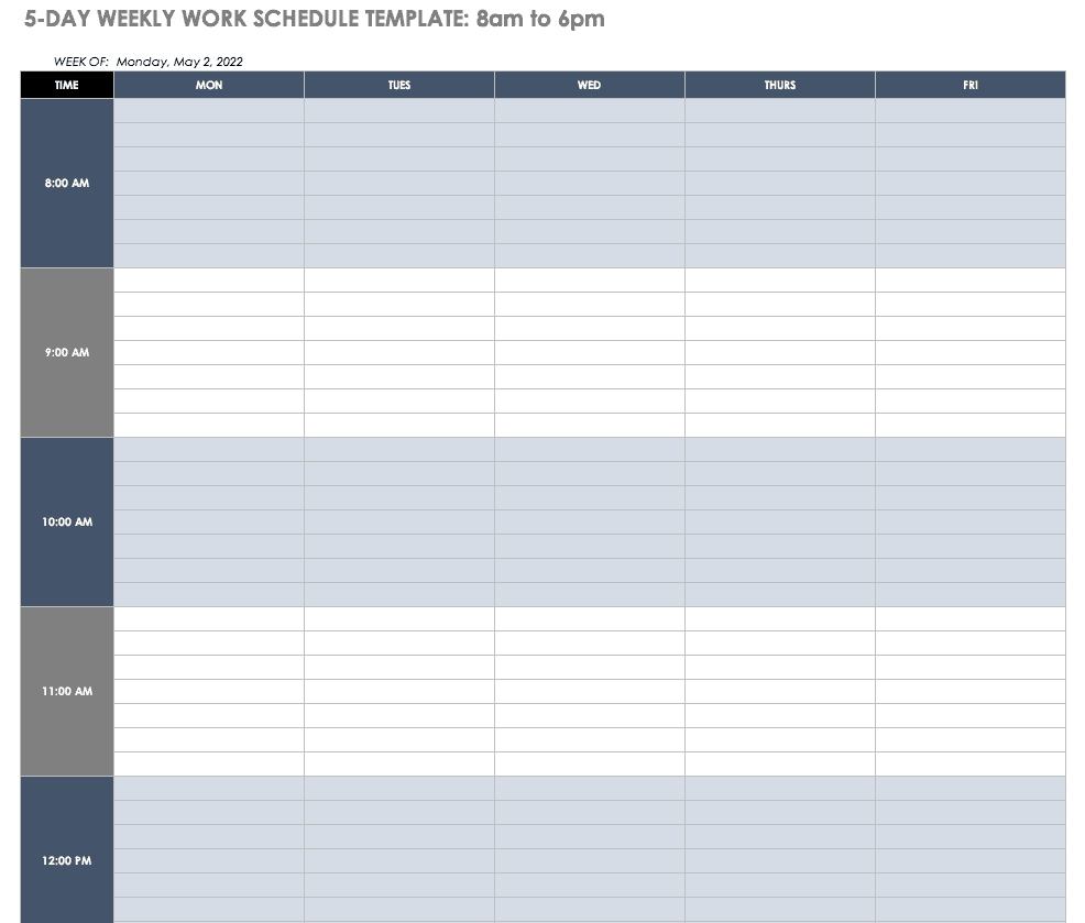 Get Day Time Schedule Sheet 15 Min