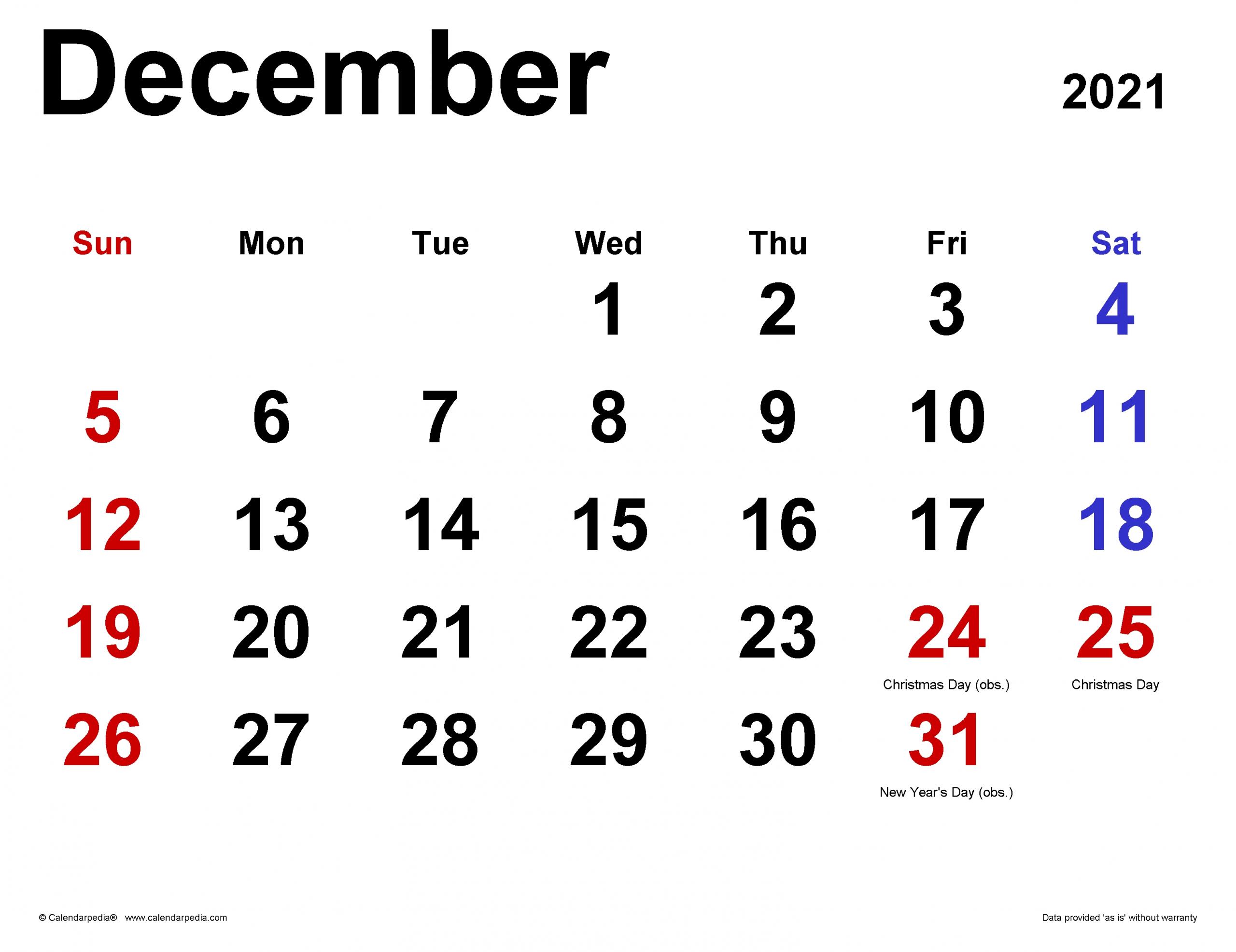 Get Dec 2021 Calendar Uk Printable
