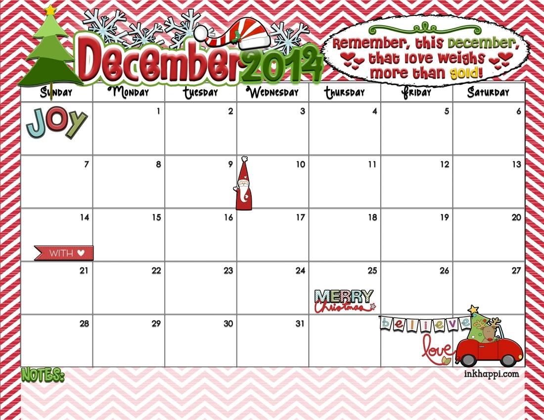 Get December Christmas Calendar Printable