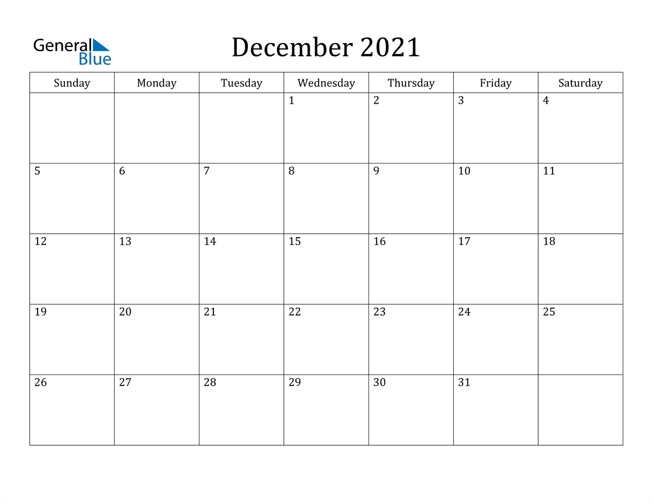 Get Decembers Calender For 2021