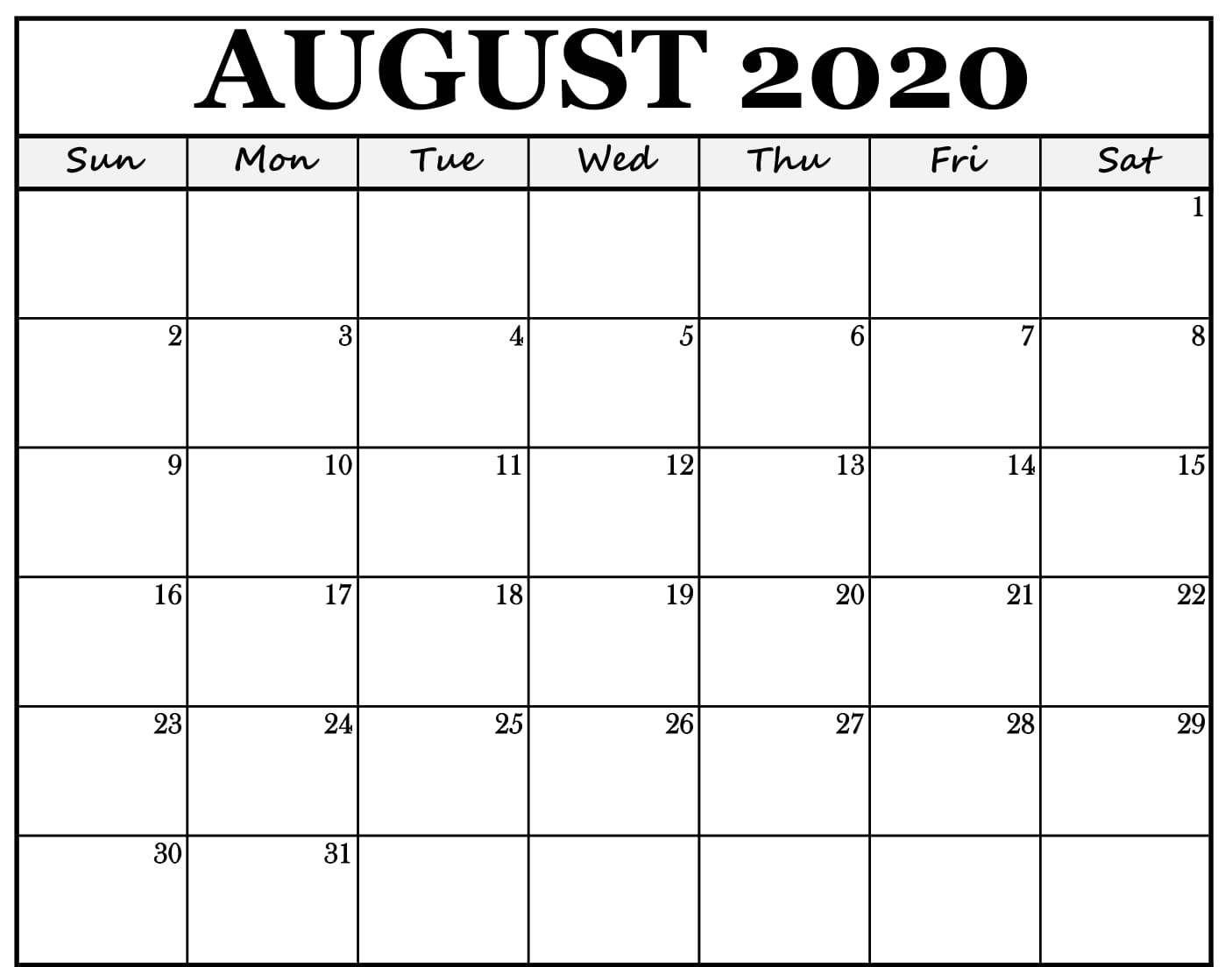Get Empty Calendar August Through October