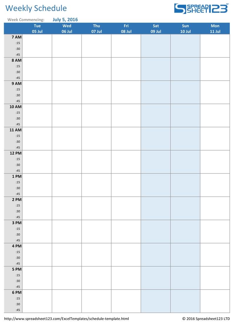 Get Excel Schedule Tempalte 15 Min