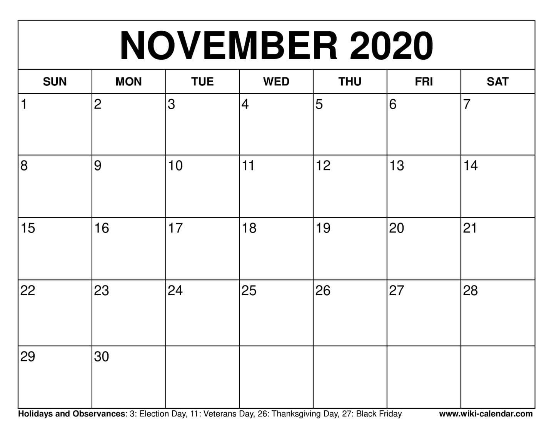 Get Festive November Calendar Blank
