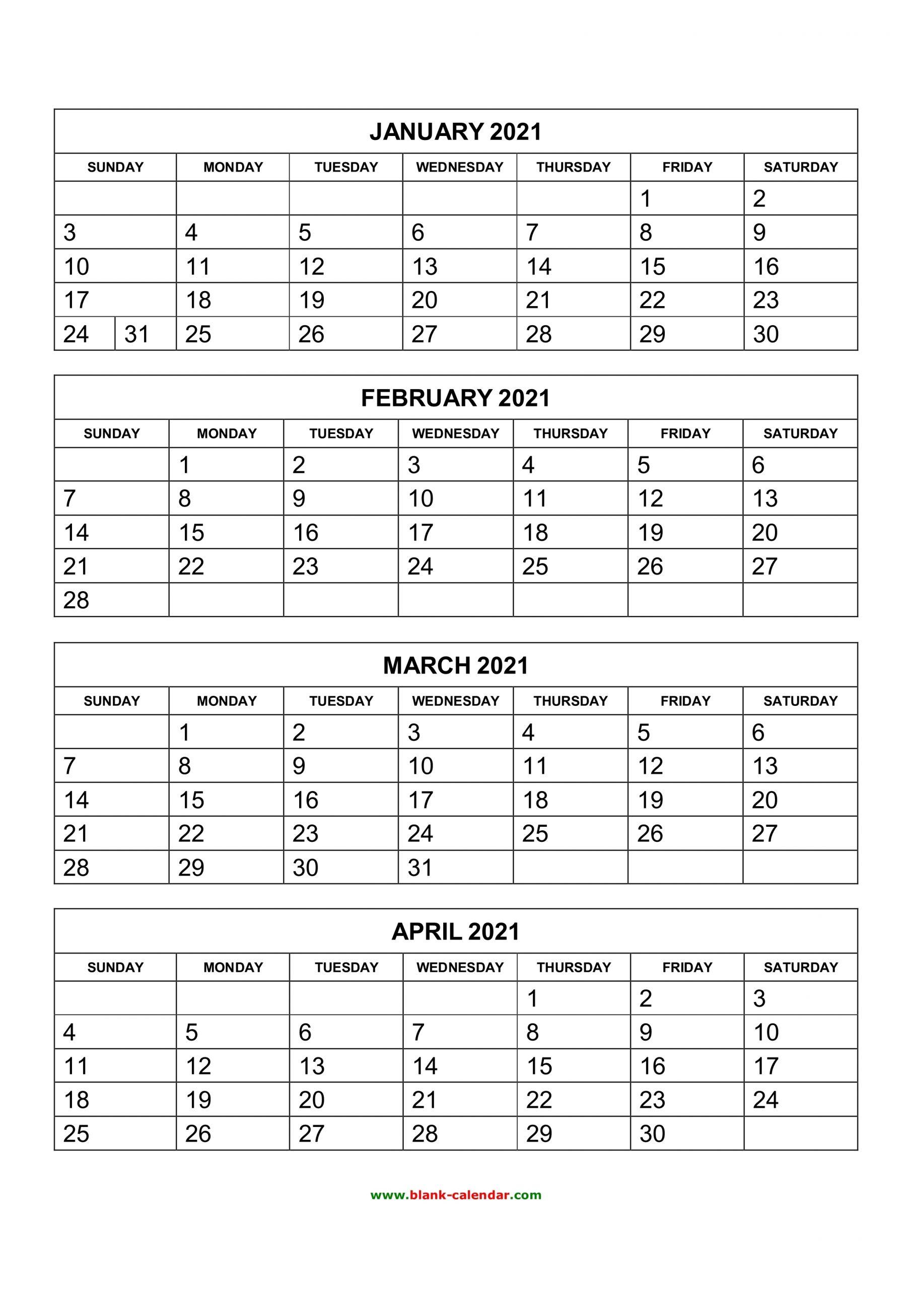 Get Four Month Calendar Template Word
