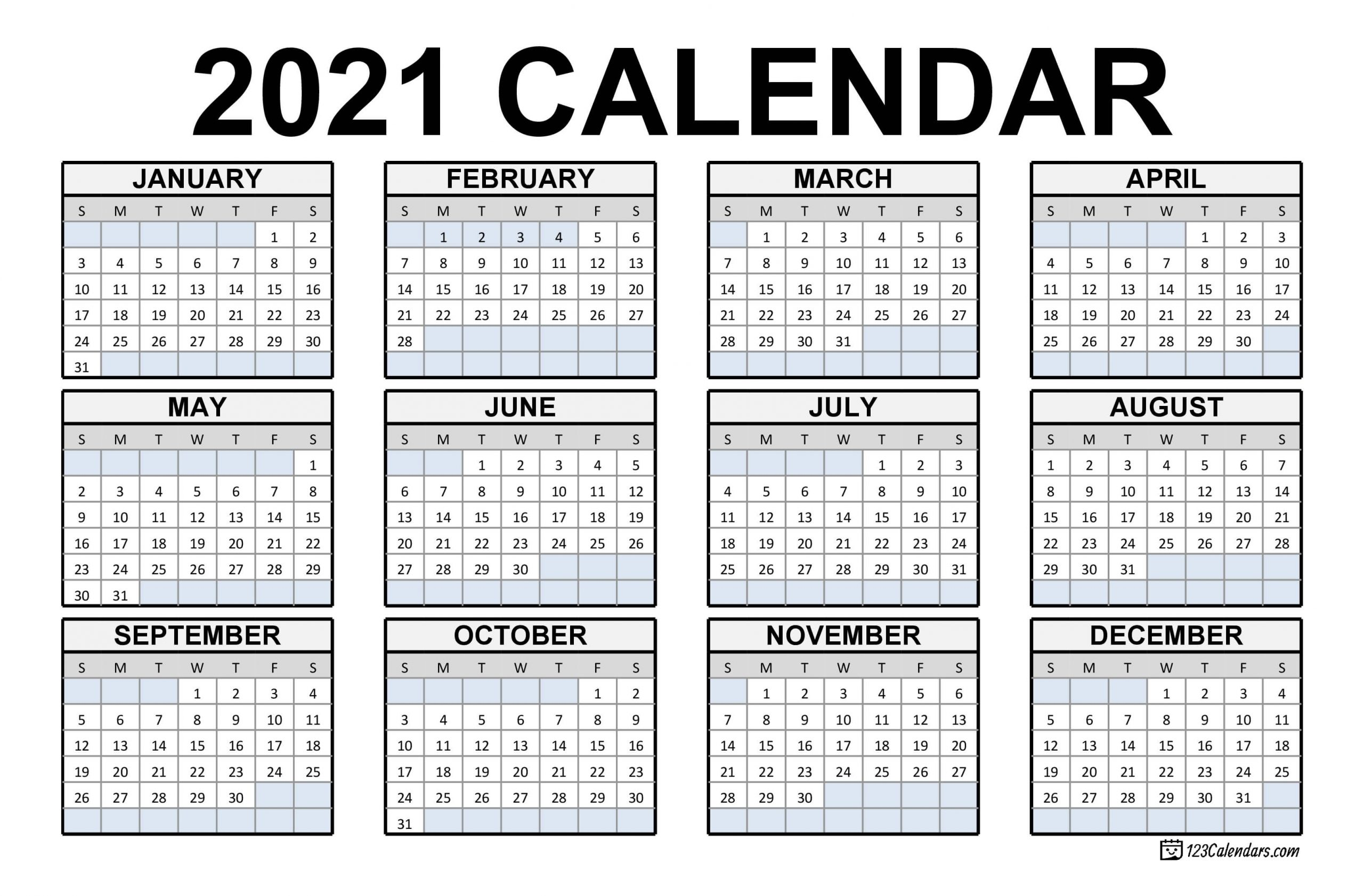 Get Free 2021 Printable Calendars No Download