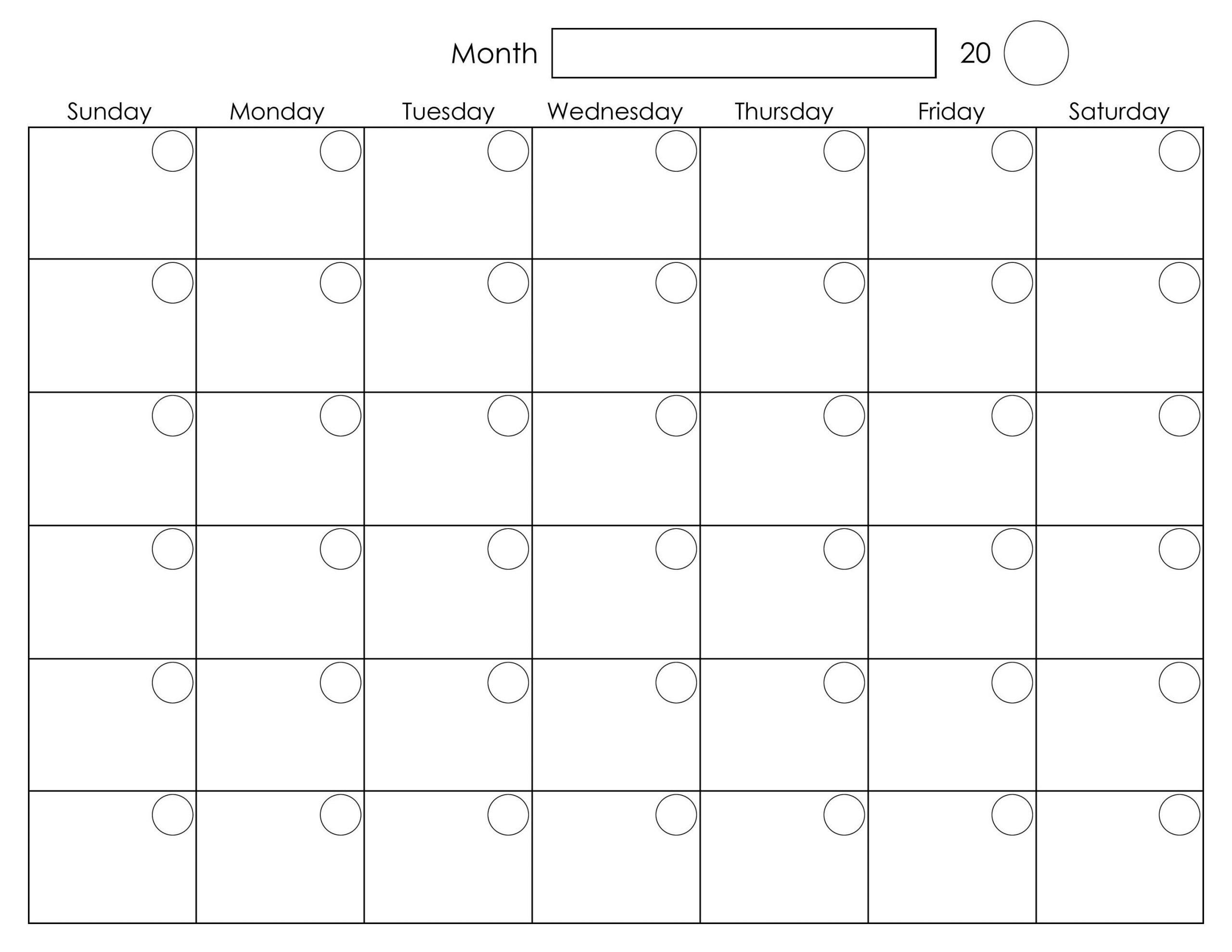 Get Free Blank Printable Monthly Calendar