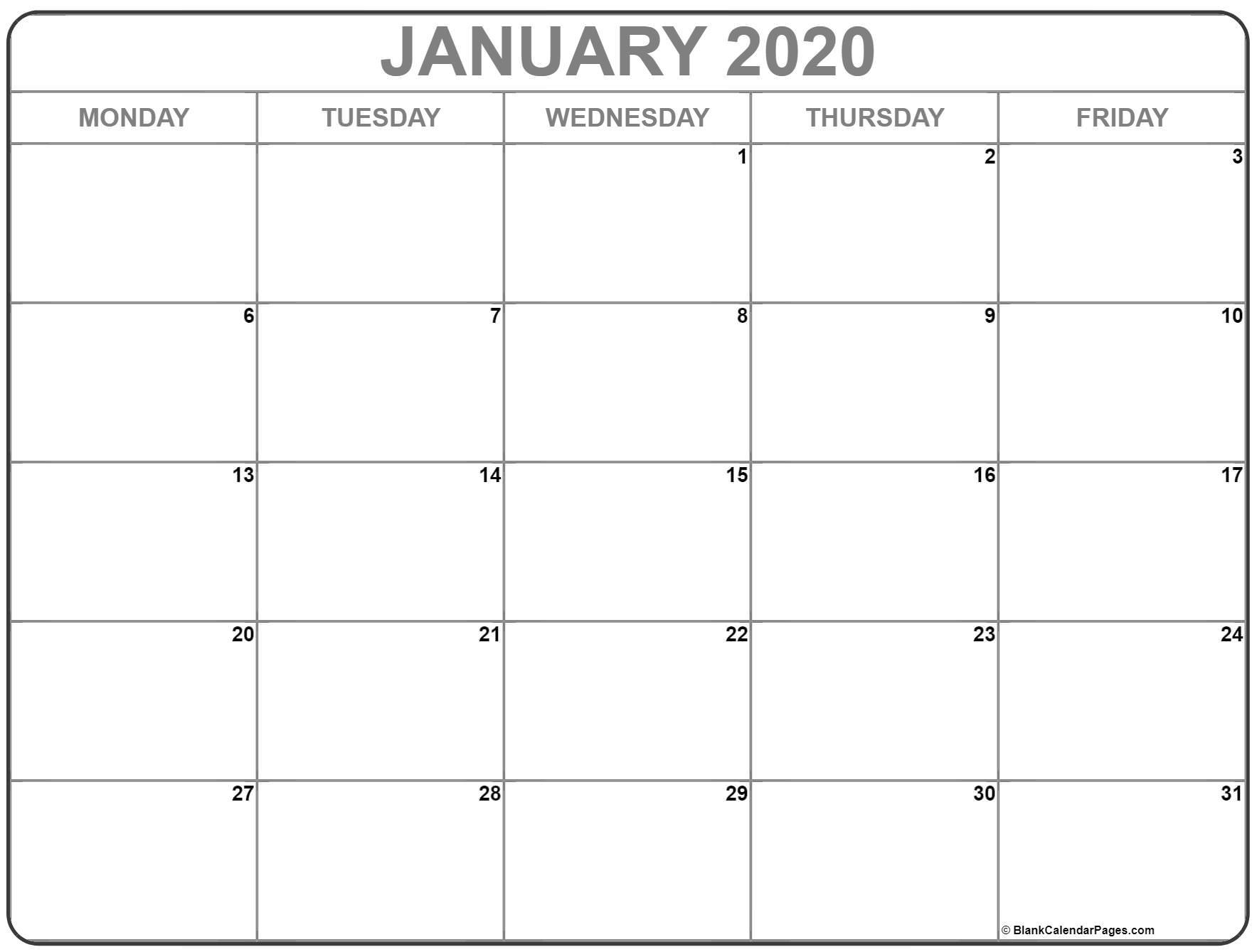 Get Free Calendars Monday Thru Sunday