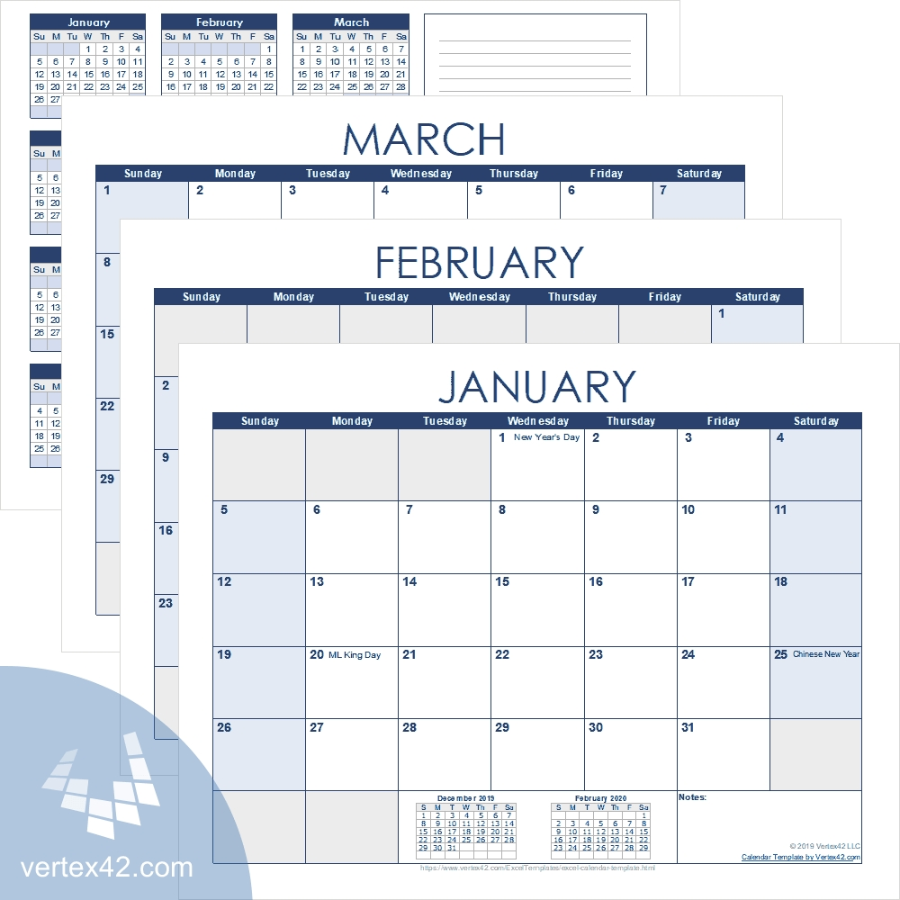 Get Free Editable Monthly Calendar Template