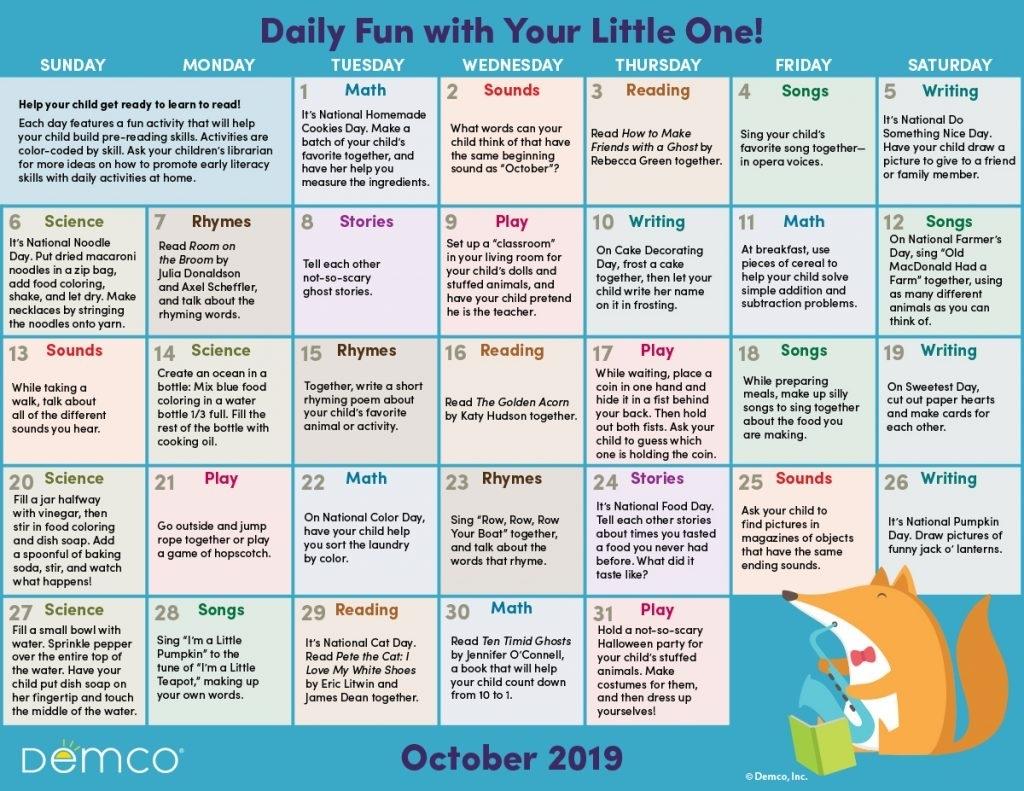 Get Free Monthly Activities Calendar