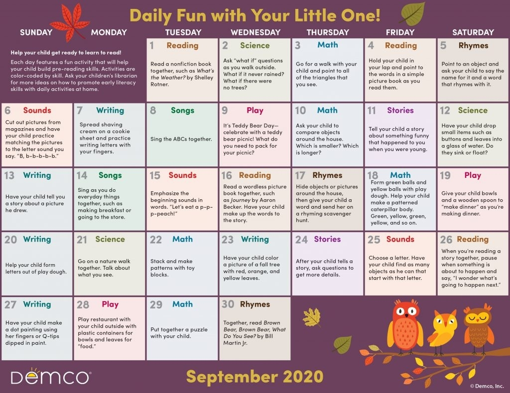 Get Free Monthly Activities Calendar