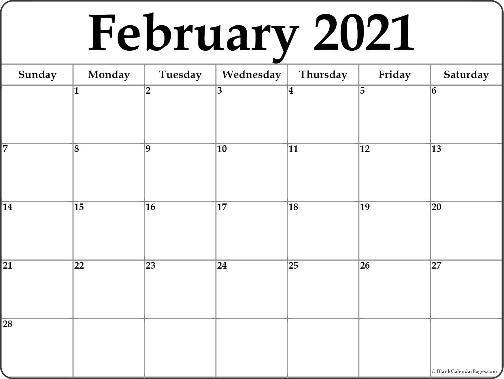 Get Free Monthly Printable Calendar 2021