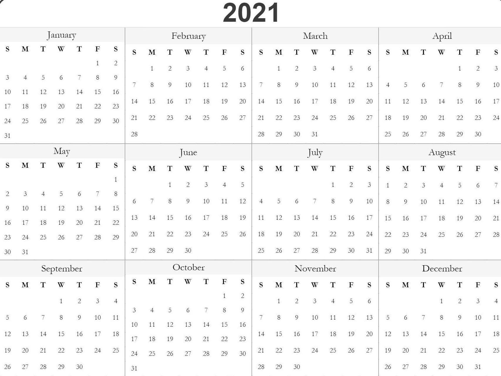 Get Free Printable 2021 2021 Calendar Templates