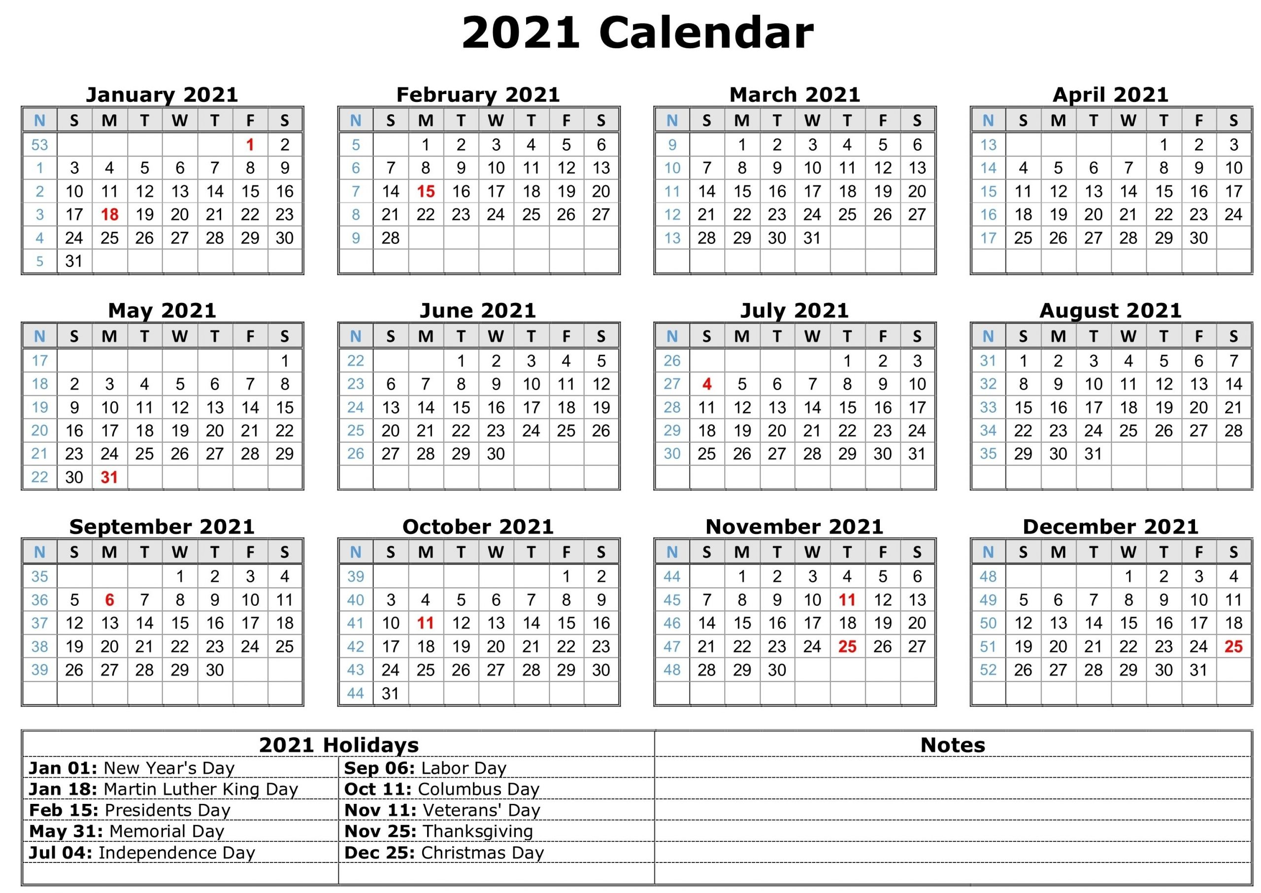 Get Free Printable 2021 Calendar