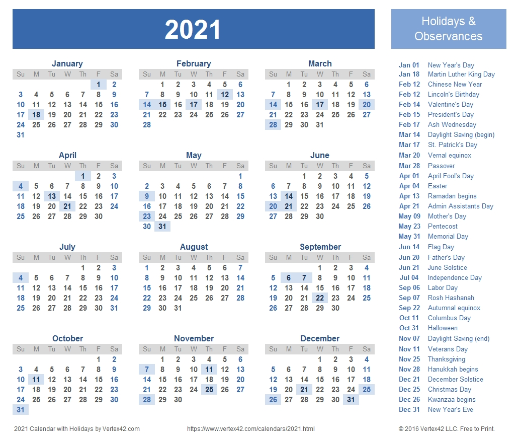 Get Free Printable 2021 Calendar With Holidays Us