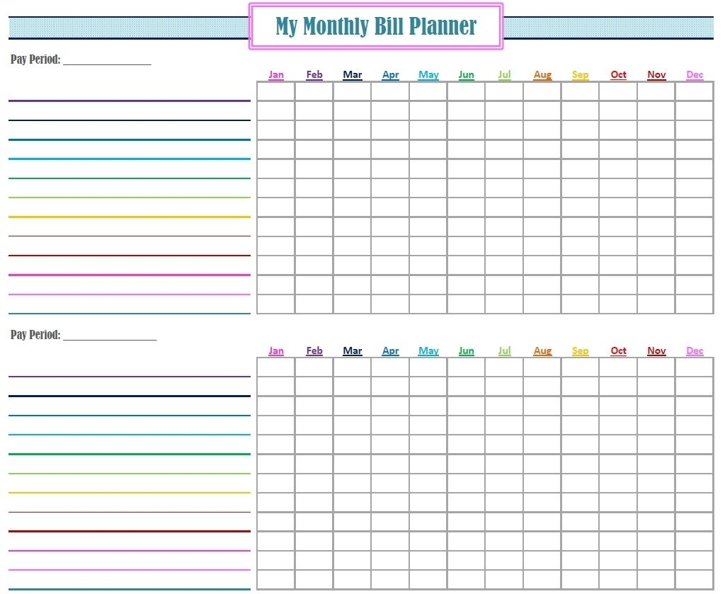 Get Free Printable Blank Monthly Bill Payment Worksheet