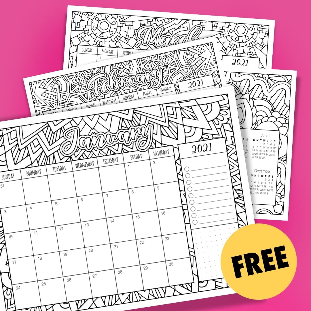 Get Free Printable Coloring Calendar 2021
