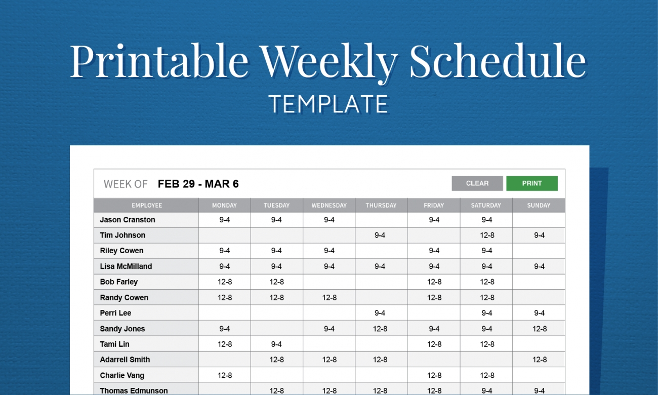 Get Free Printable Employee Work Schedules