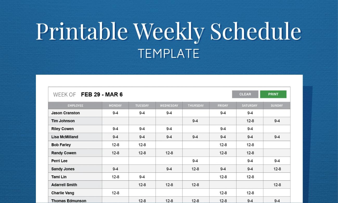 Get Free Printable Employee Work Schedules