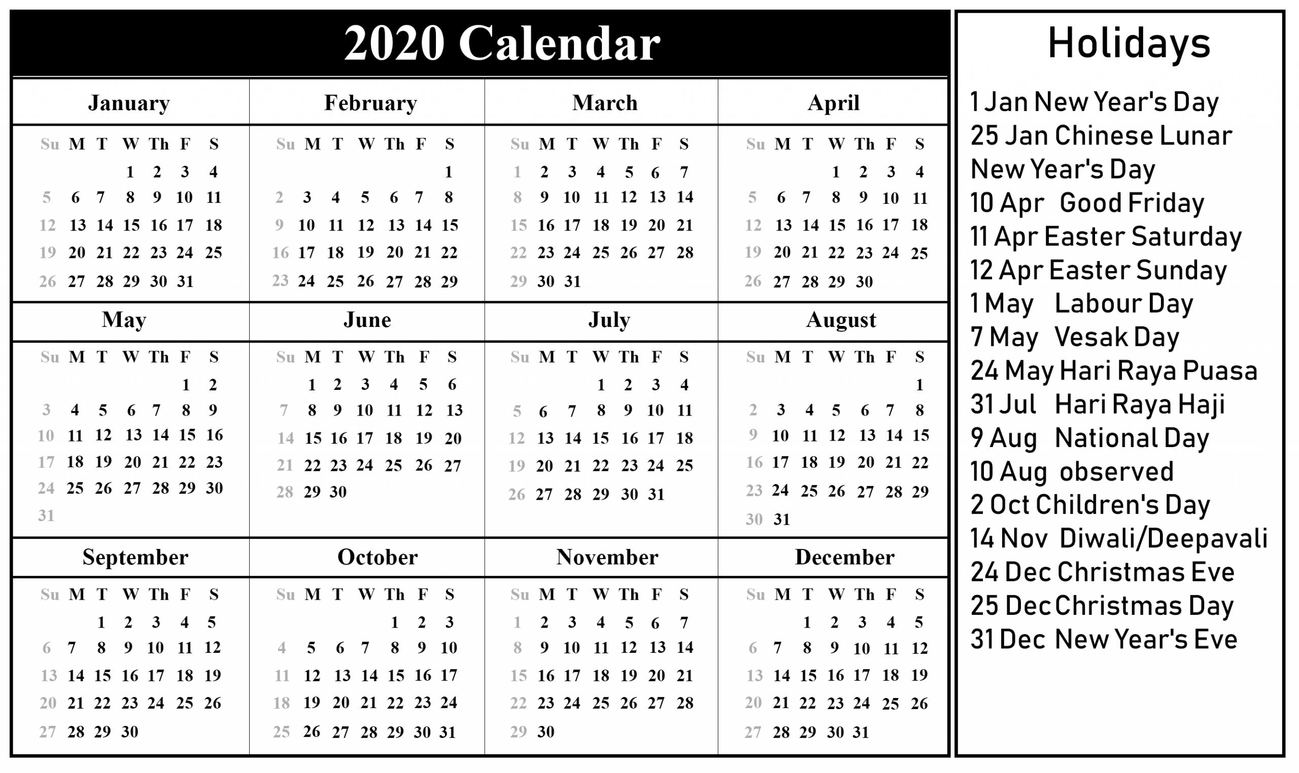 Get Free Printable Holiday Calendars