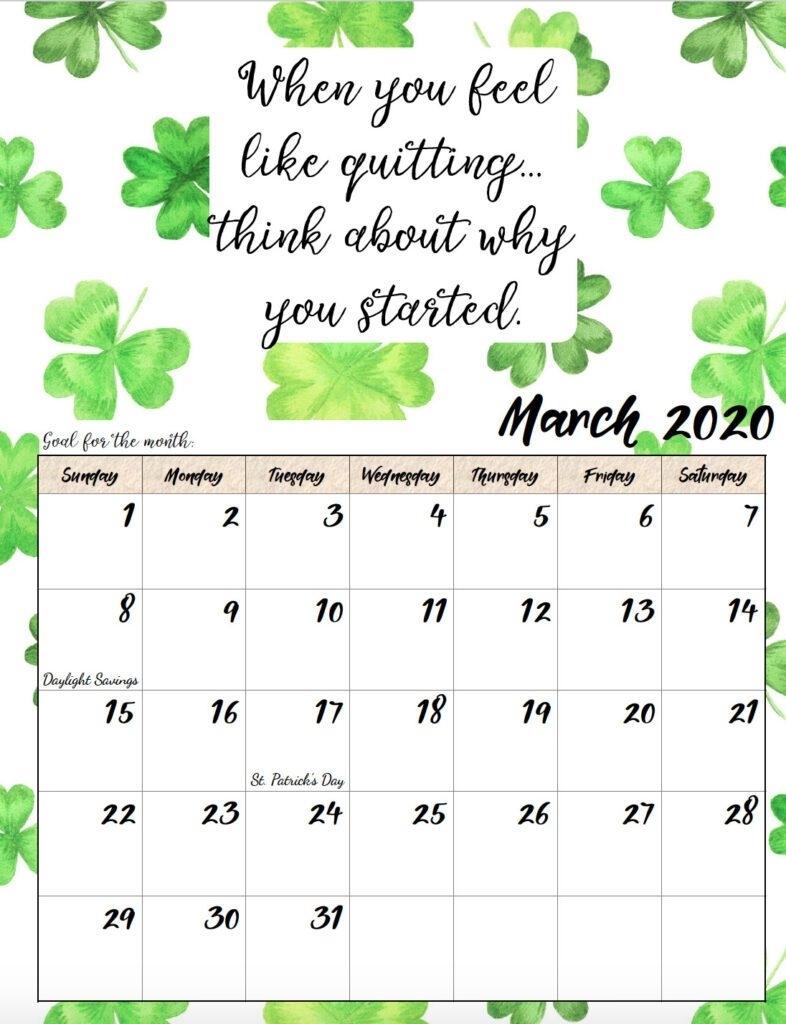Get Free Printable Inspirational Calendar