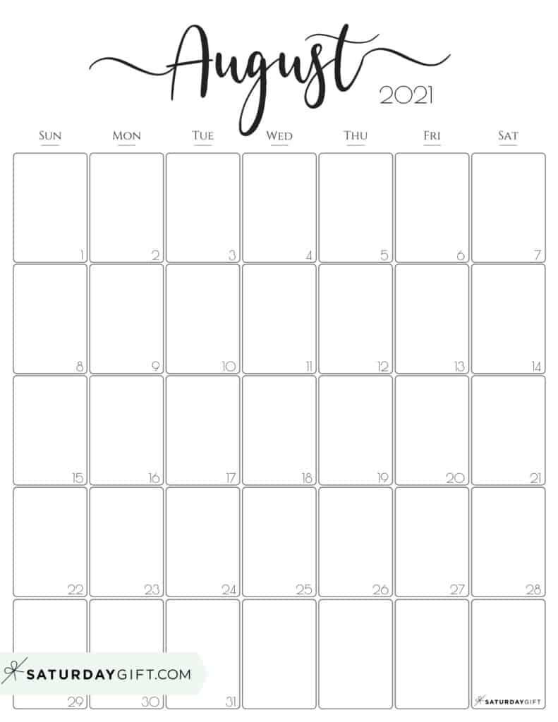 Get Free Printable Monthly 2021 Calendar Pdf August