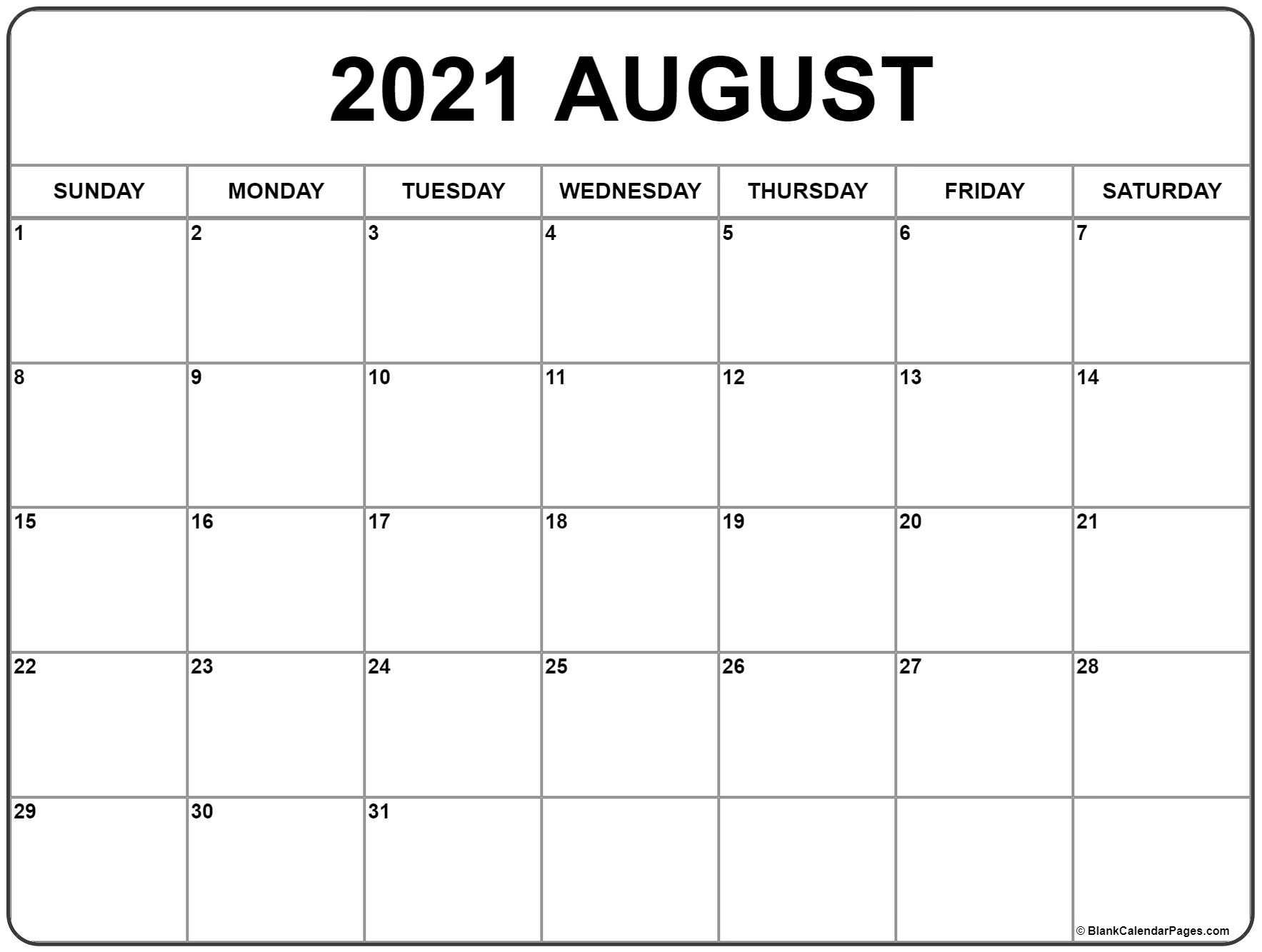 Get Free Printable Monthly Calendar August 2021