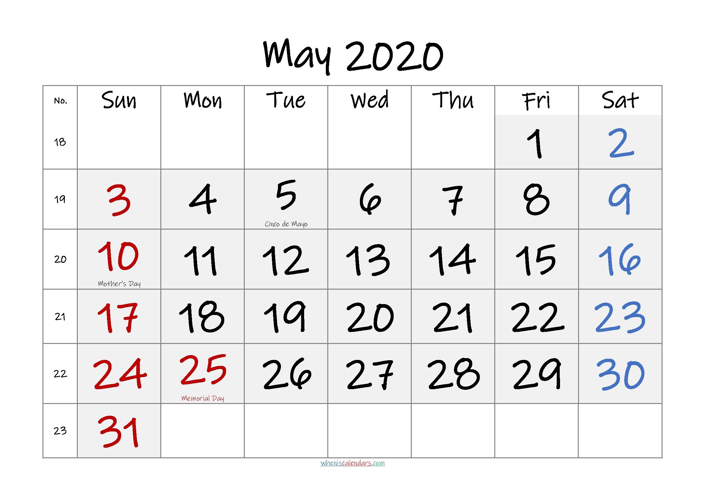 Get Free Printable Monthly Calendar No Download