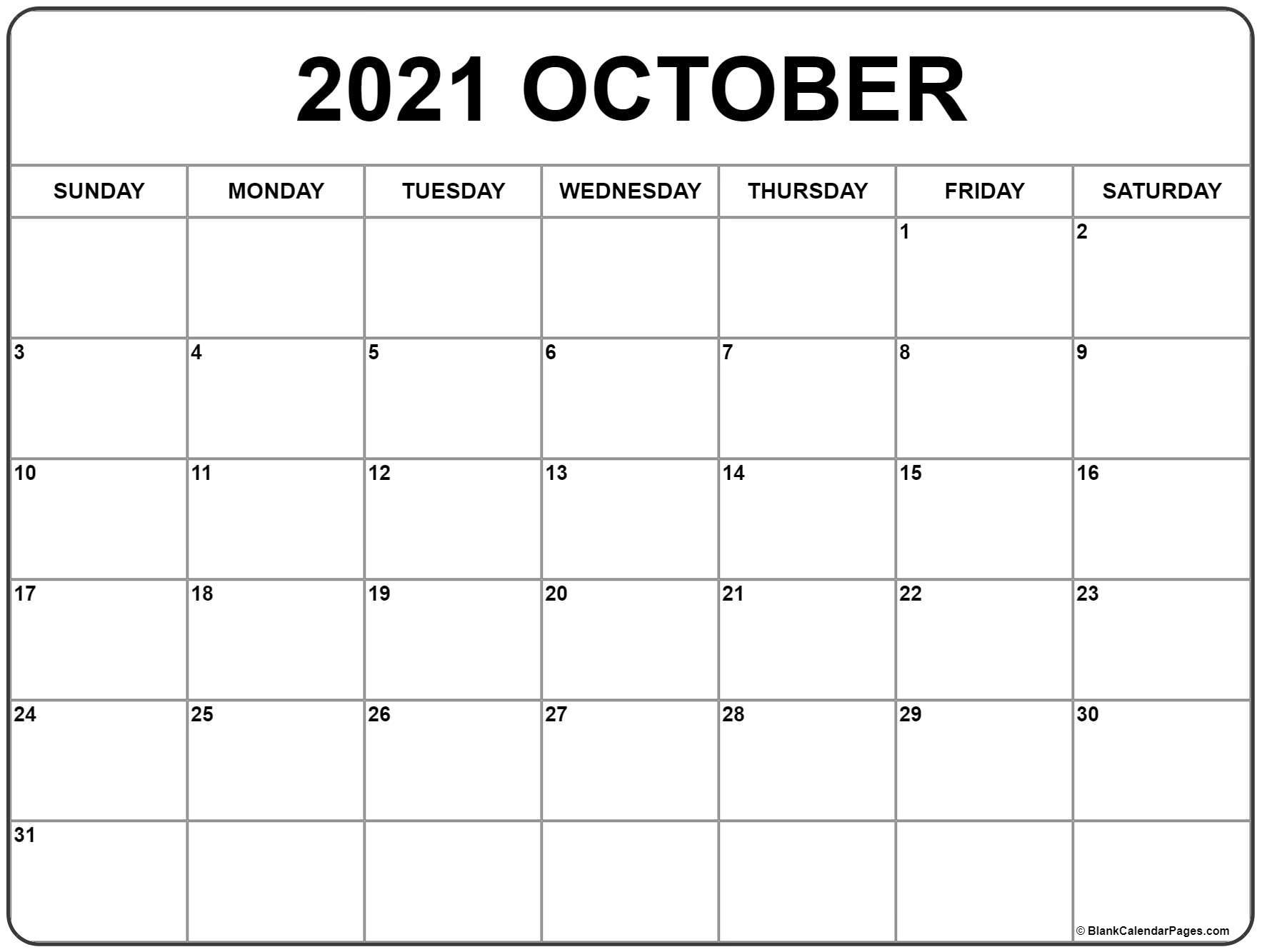 Get Free Printable October 2021 Calendar