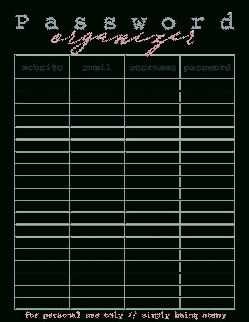 Get Free Printable Password Organizer Sheets