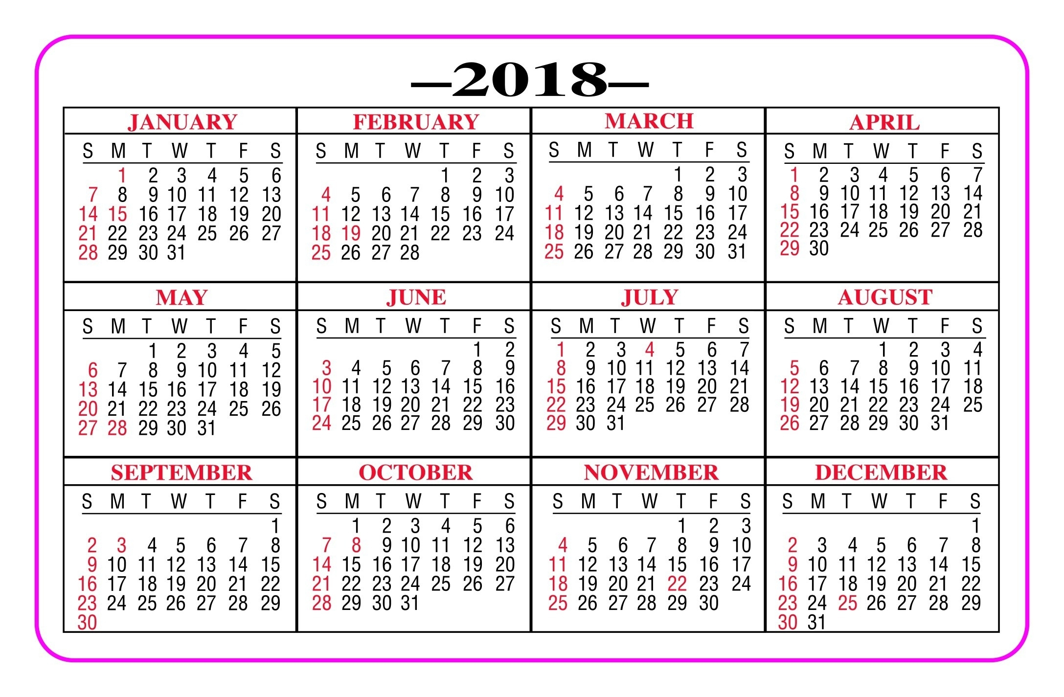 Get Free Printable Pocket Size Calendars