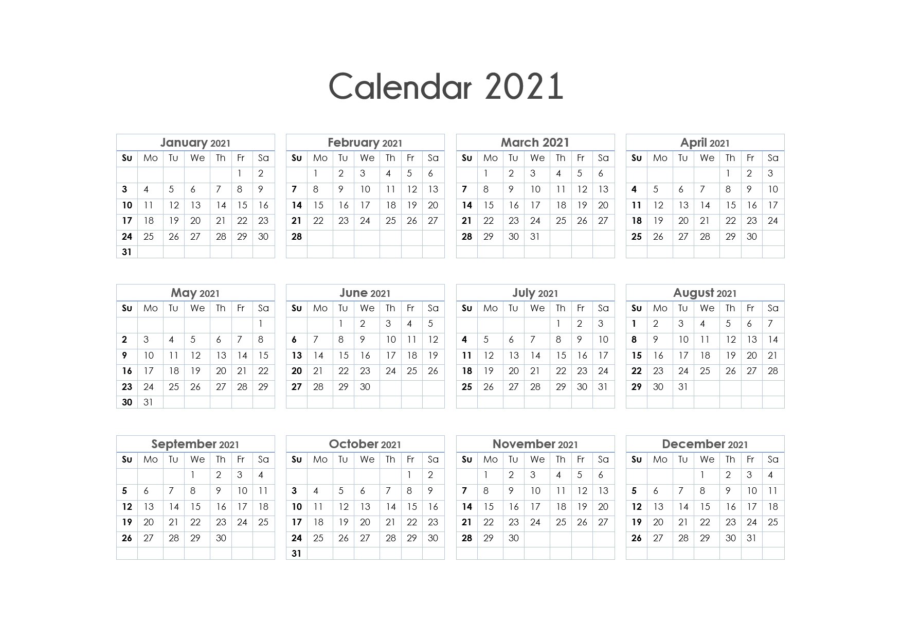 Get Free Printable Yearly Calendar 2021