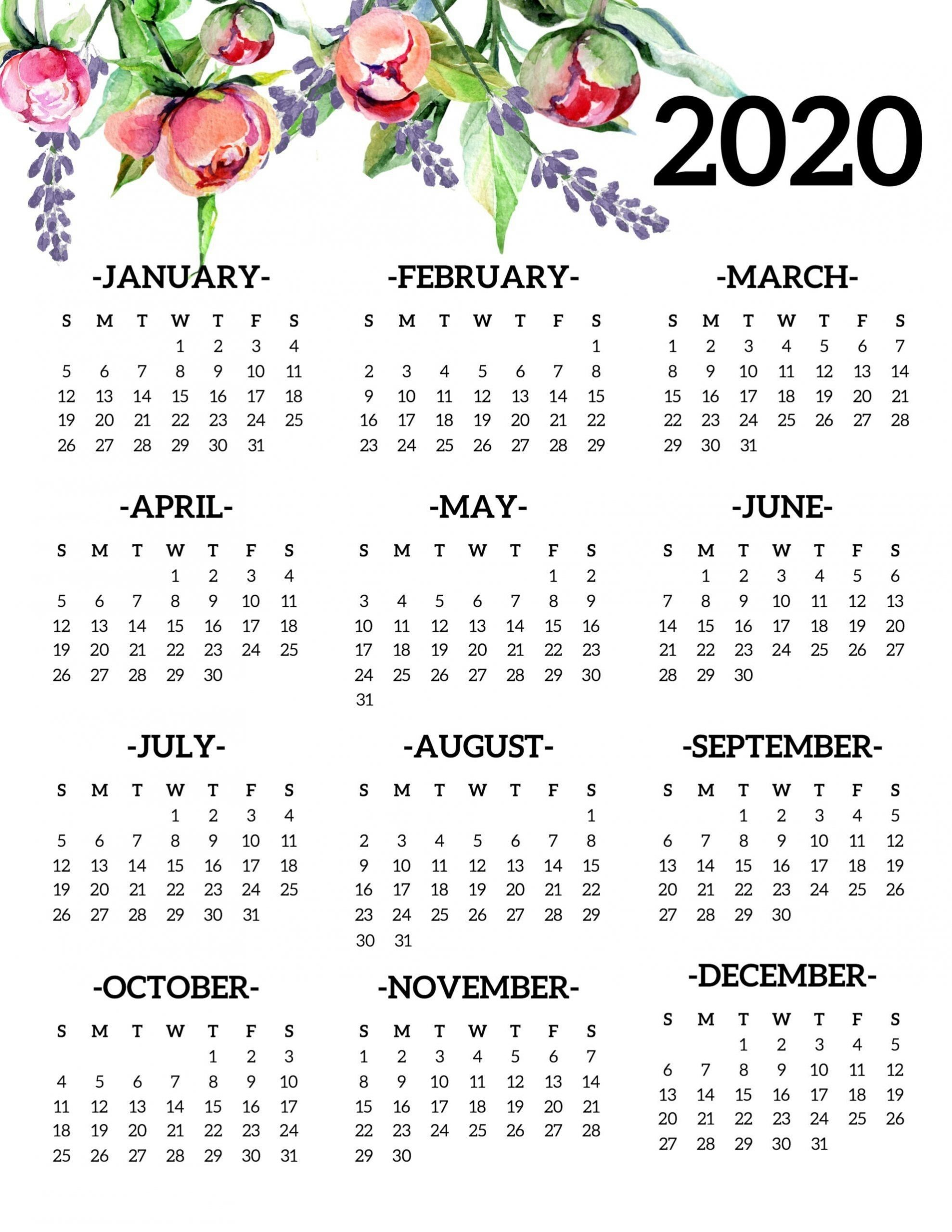 Get Free Printable Yearly Calendar Without Download