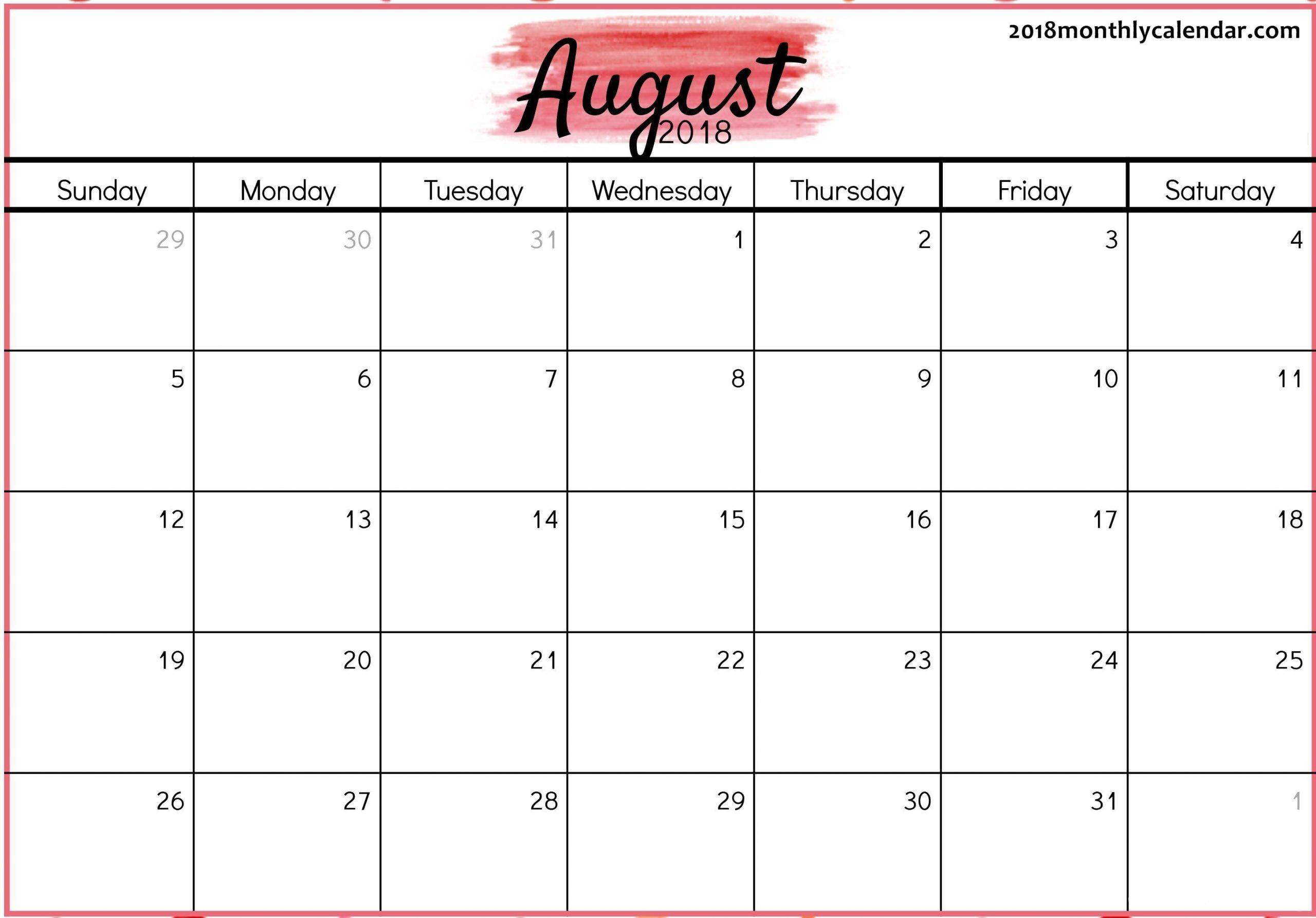 Get Full Page August Calendar Printable